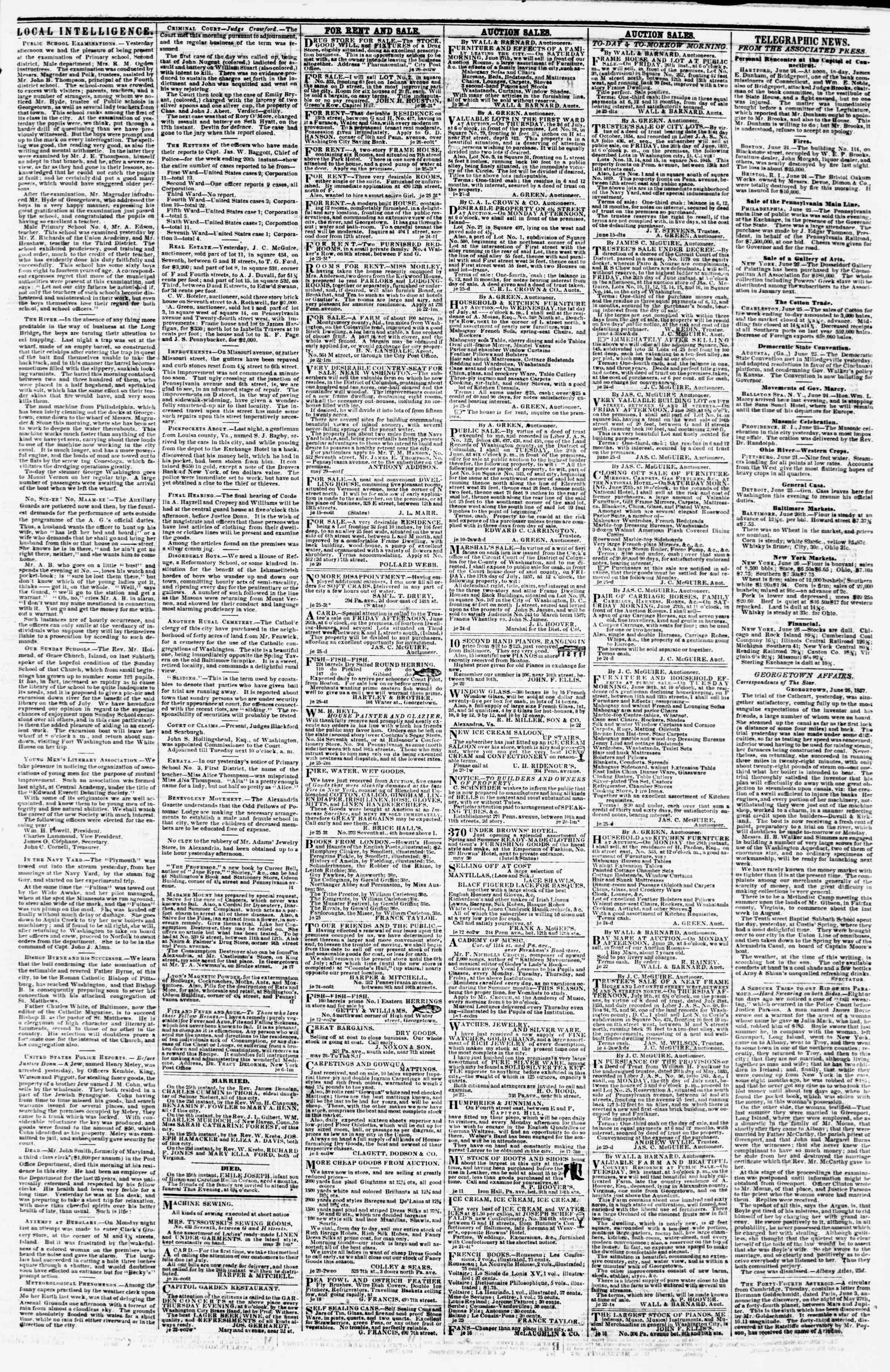 Newspaper of Evening Star dated June 26, 1857 Page 3