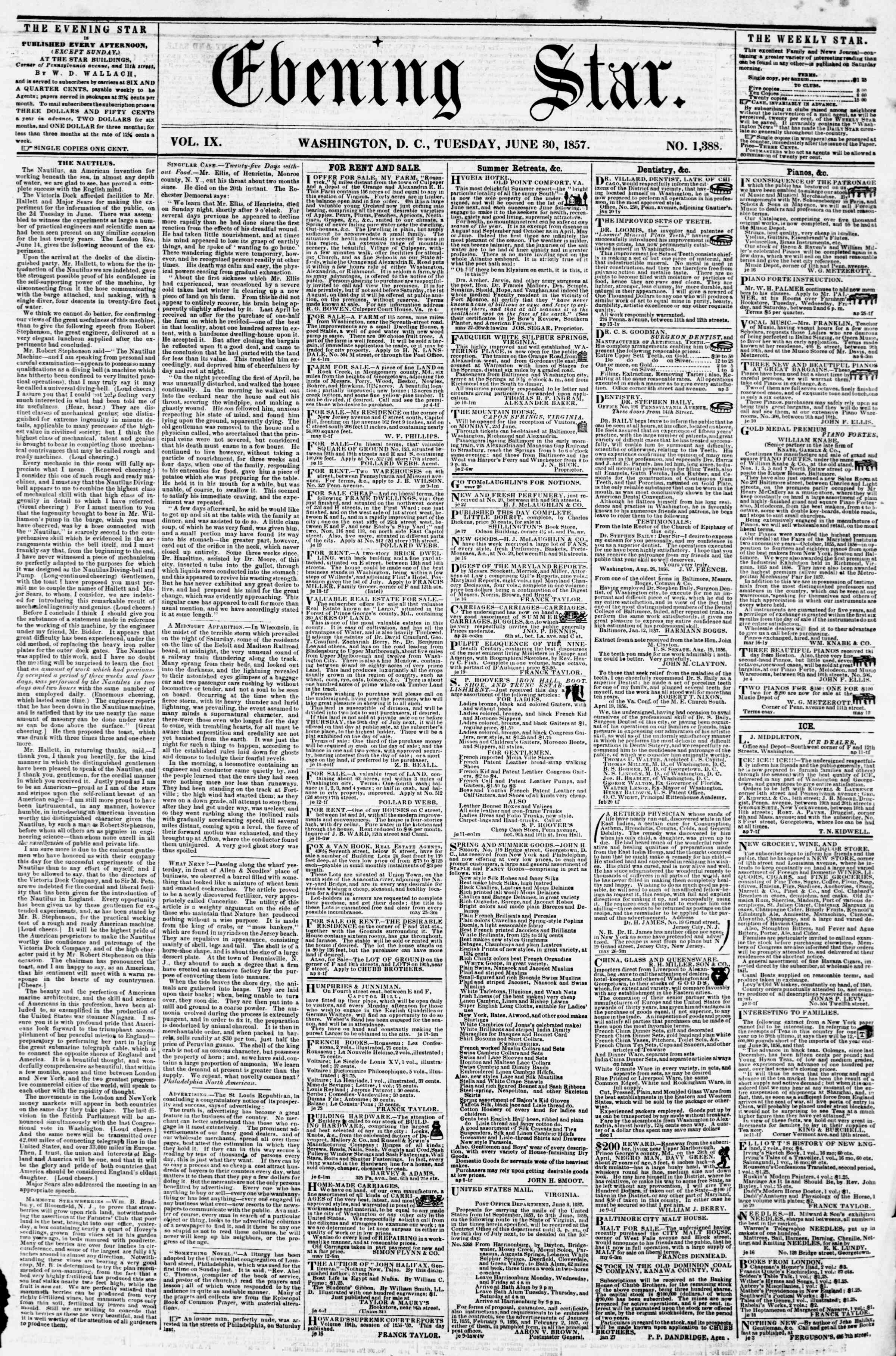 Newspaper of Evening Star dated June 30, 1857 Page 1