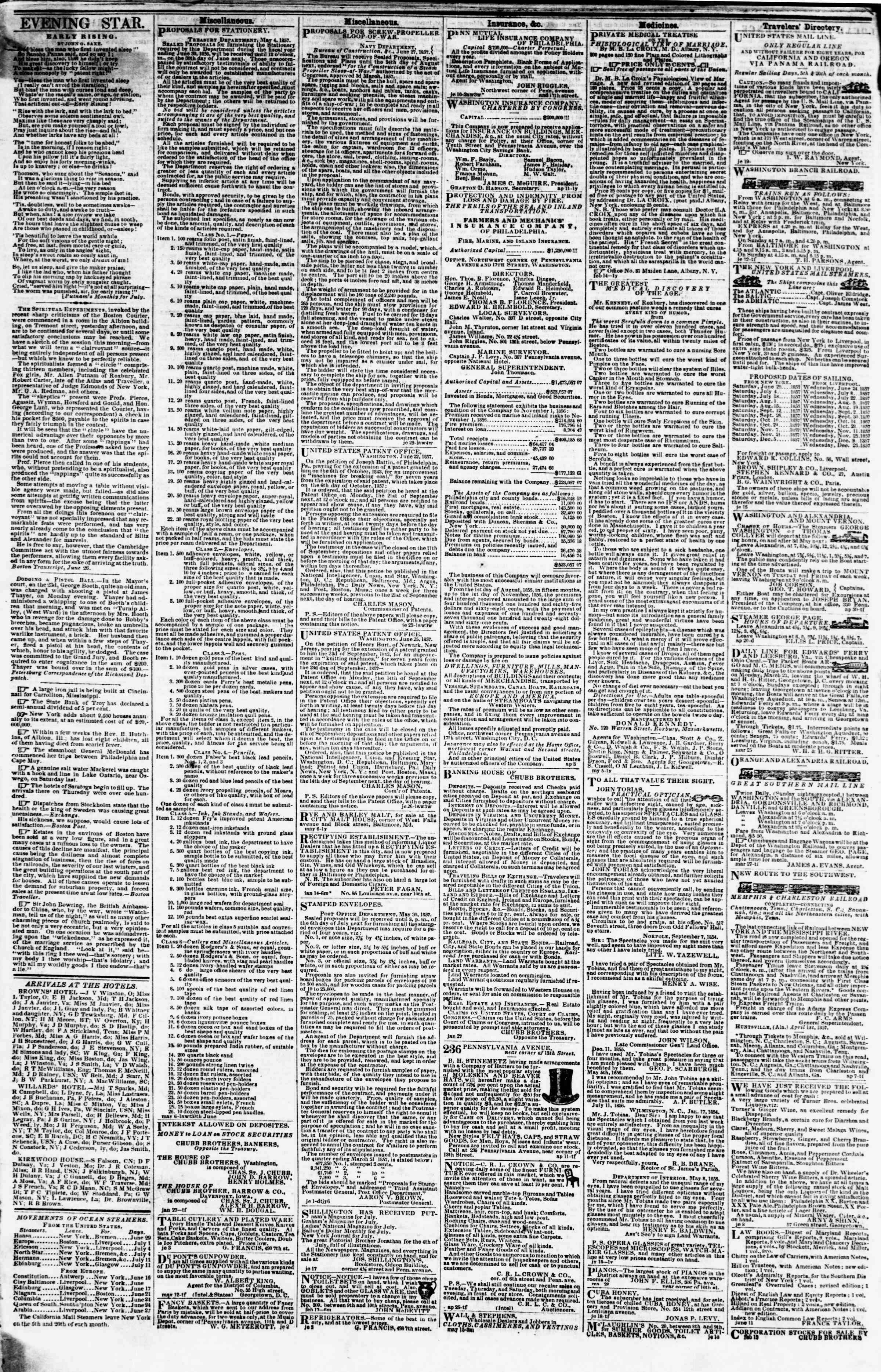 Newspaper of Evening Star dated June 30, 1857 Page 4