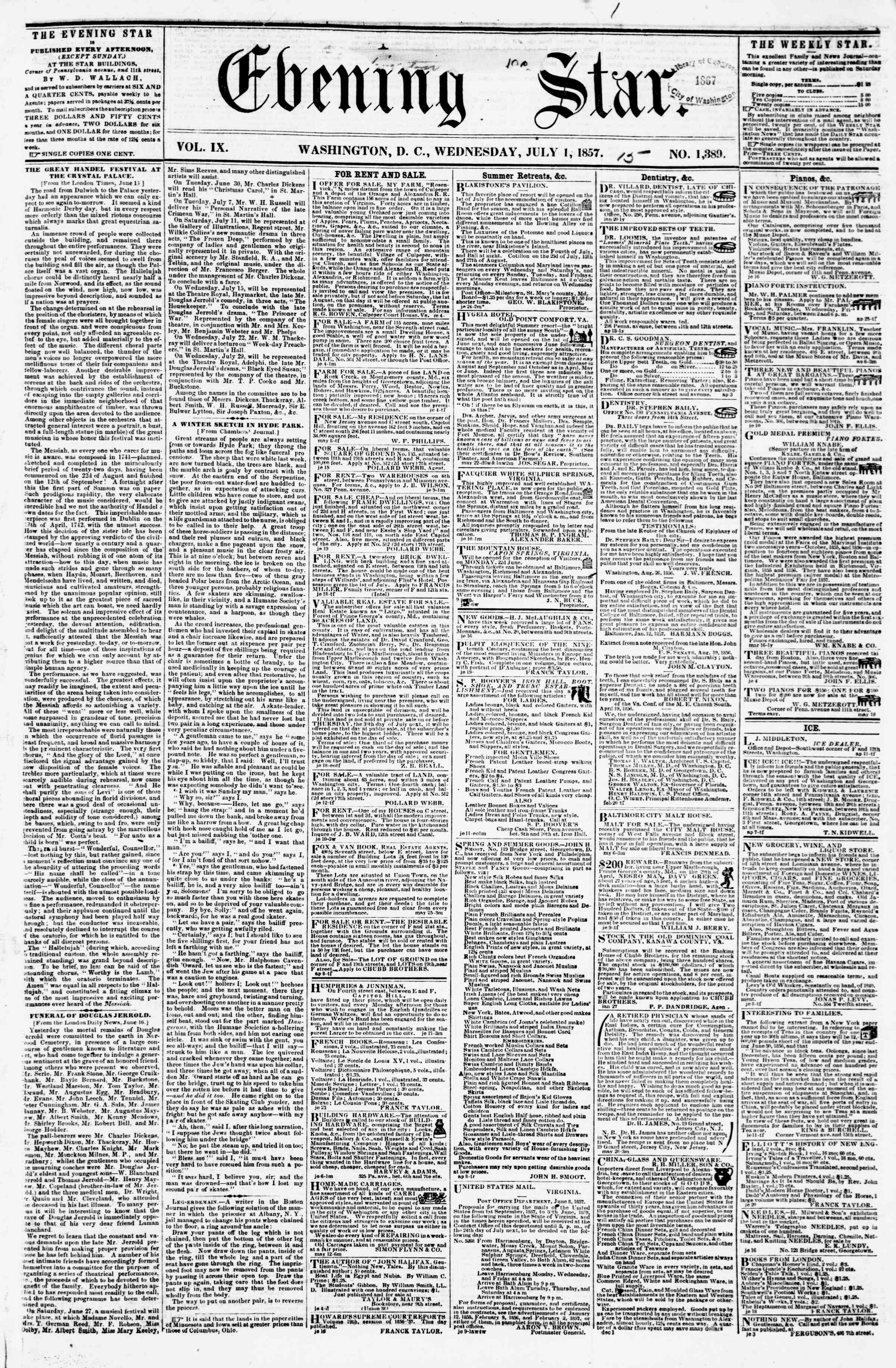 Newspaper of Evening Star dated July 1, 1857 Page 1