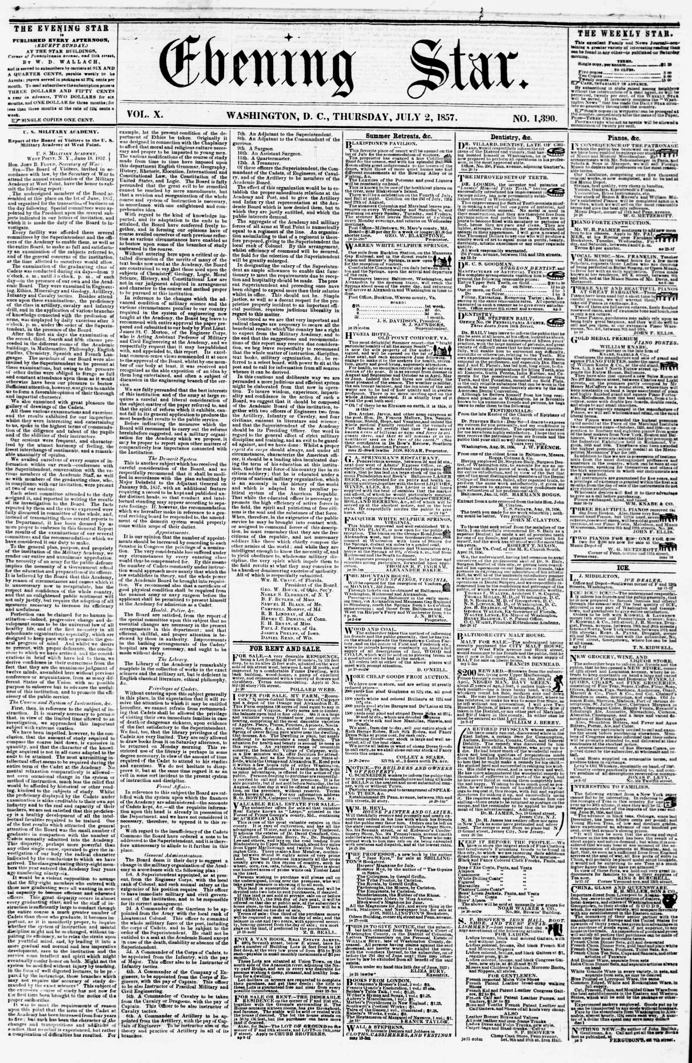 Newspaper of Evening Star dated July 2, 1857 Page 1