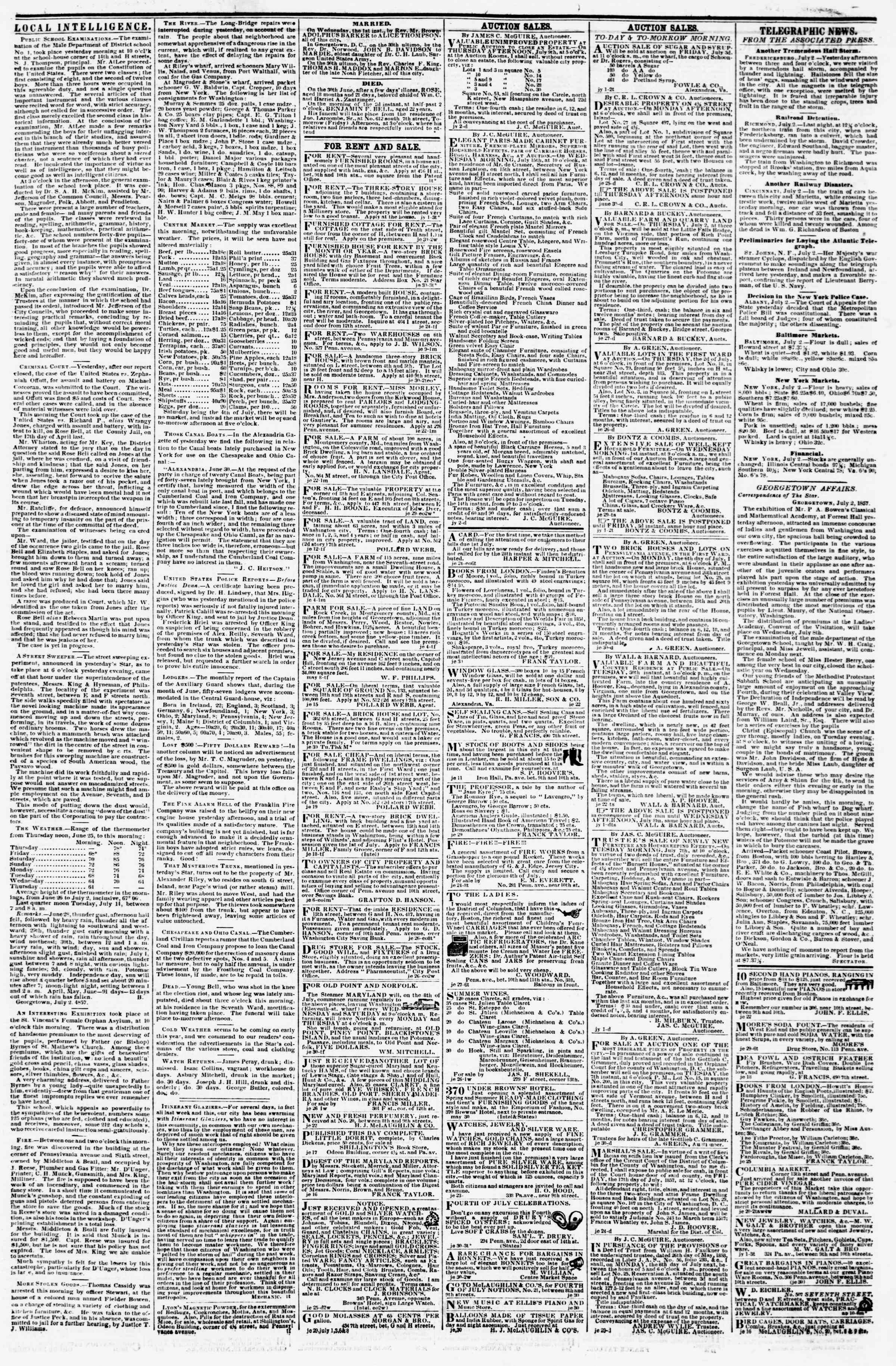 Newspaper of Evening Star dated July 2, 1857 Page 3