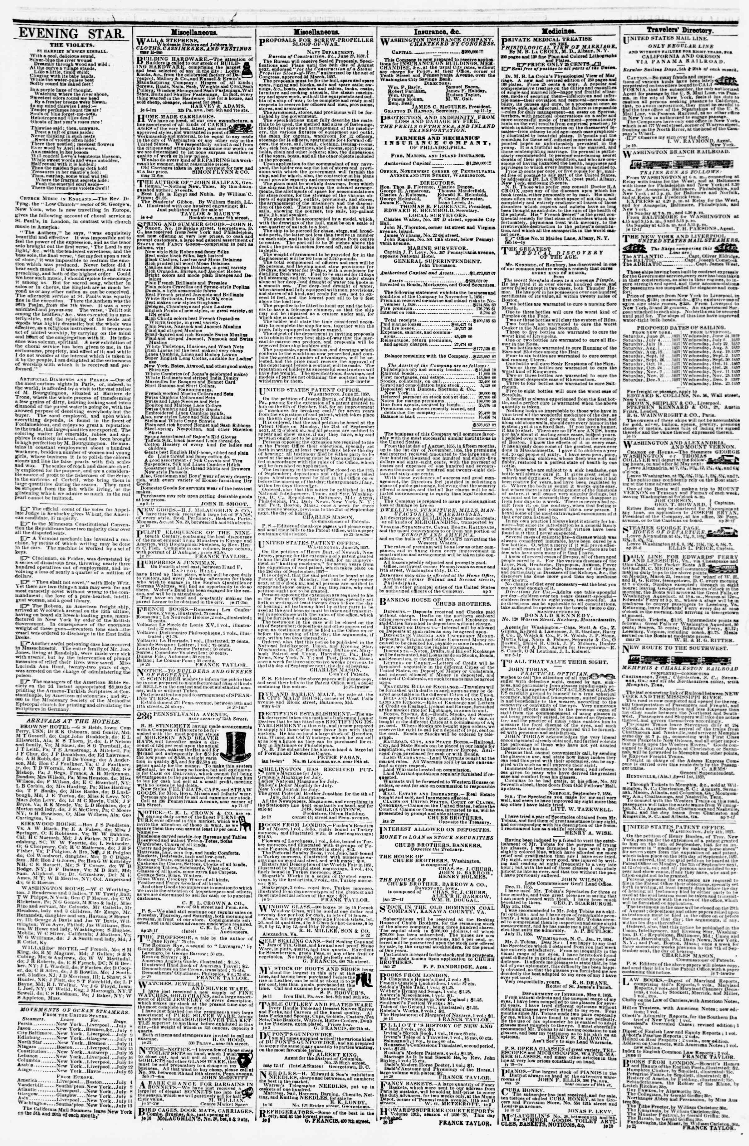 9 Temmuz 1857 tarihli Evening Star Gazetesi Sayfa 4