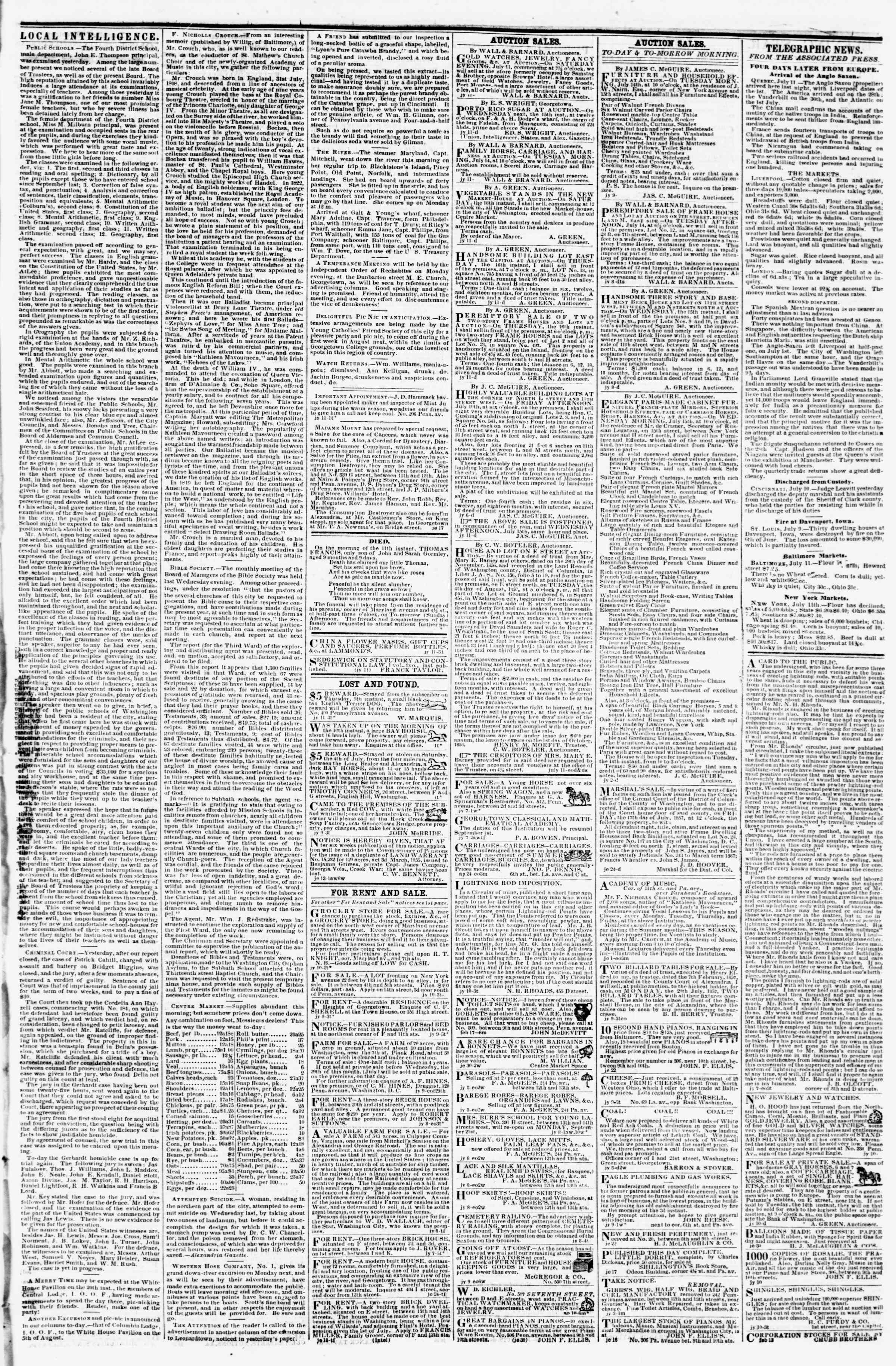 Newspaper of Evening Star dated July 11, 1857 Page 3