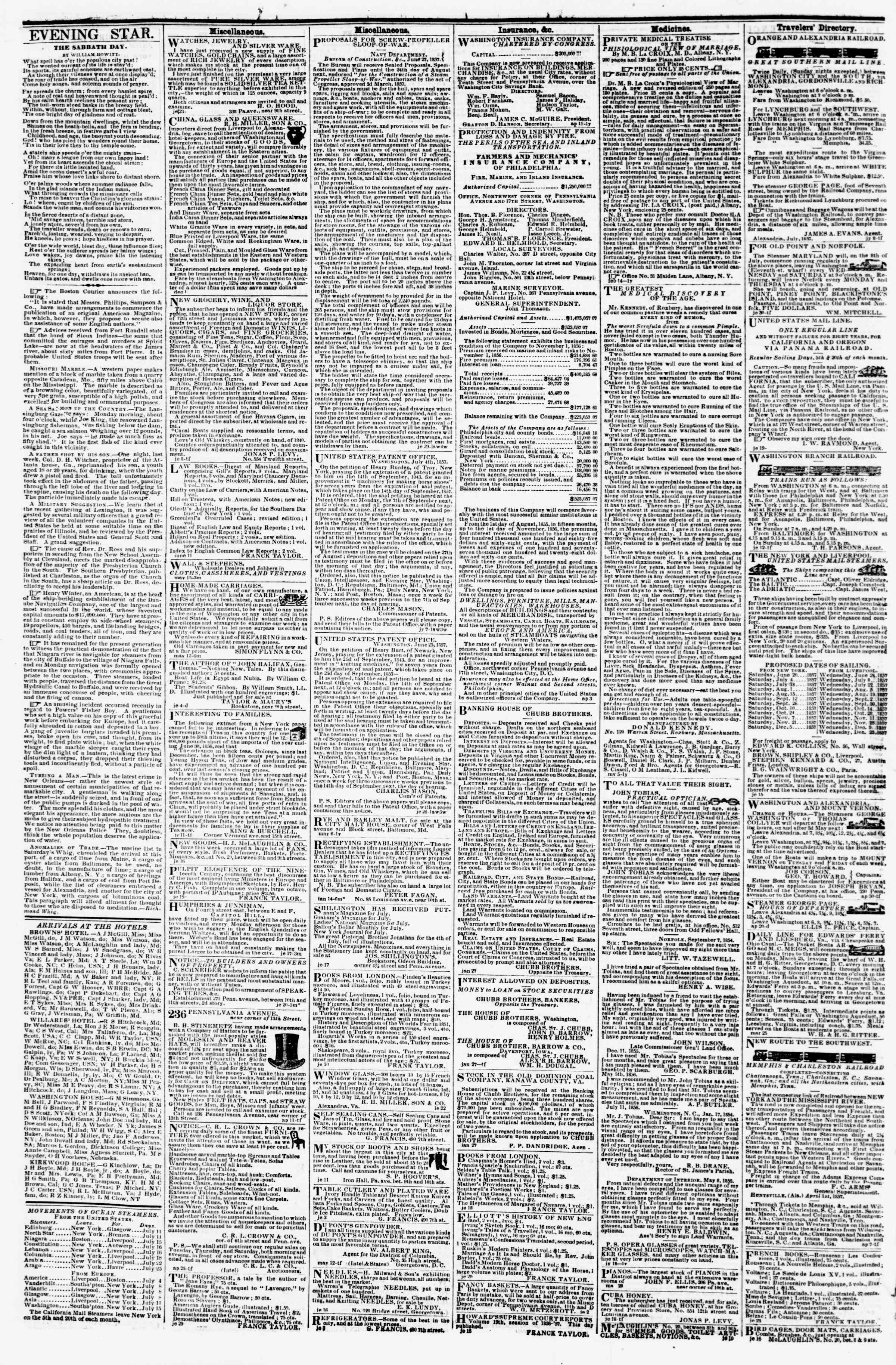 Newspaper of Evening Star dated 11 Temmuz 1857 Page 4
