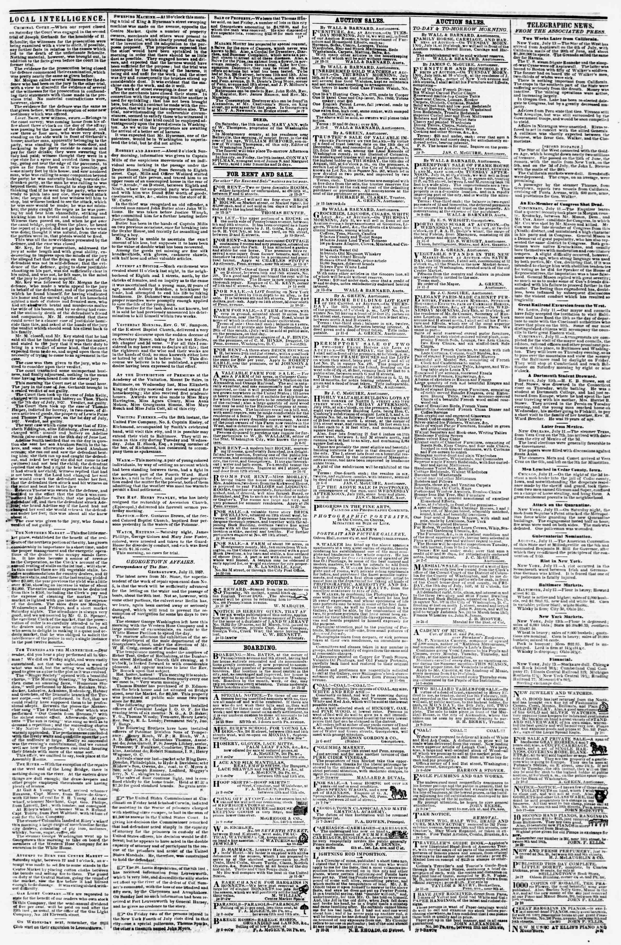 Newspaper of Evening Star dated July 13, 1857 Page 3