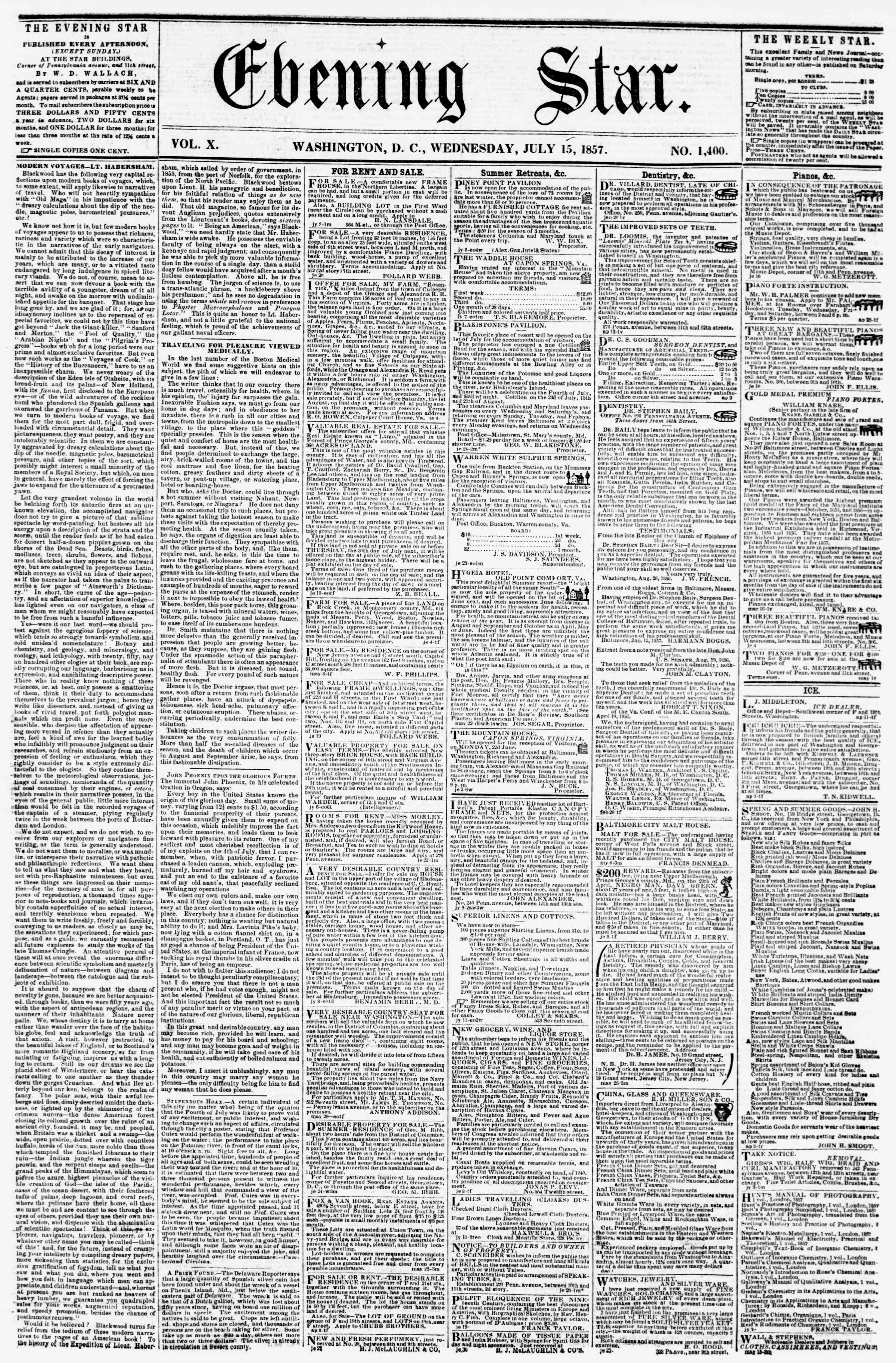 Newspaper of Evening Star dated July 15, 1857 Page 1