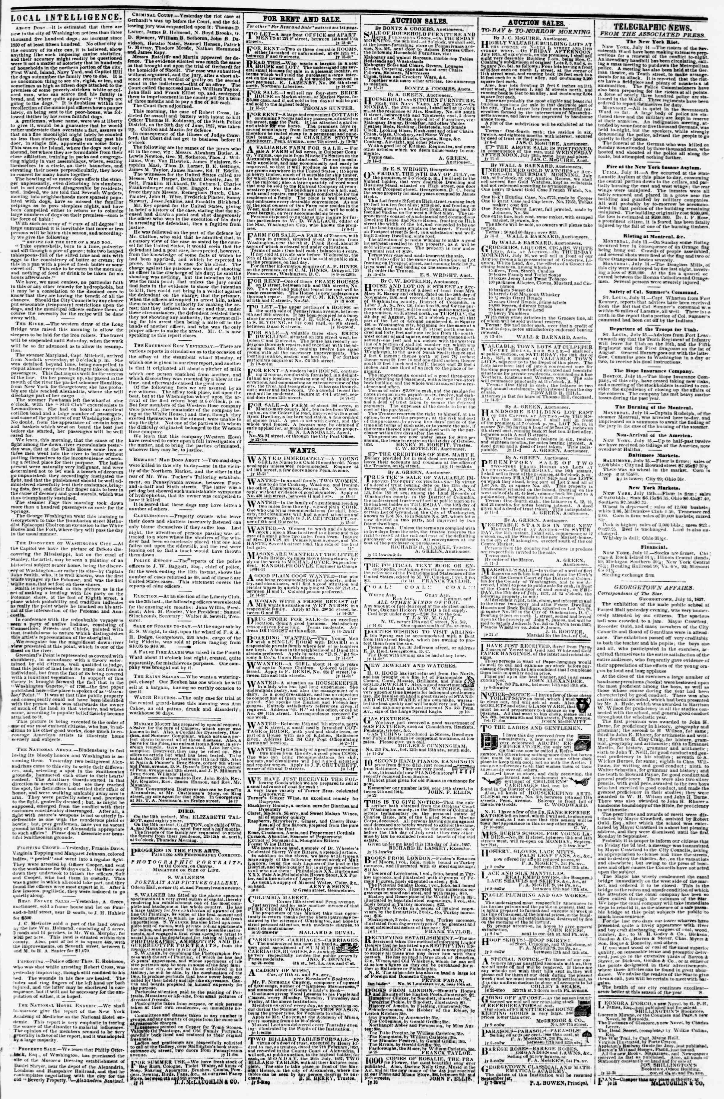 Newspaper of Evening Star dated July 15, 1857 Page 3