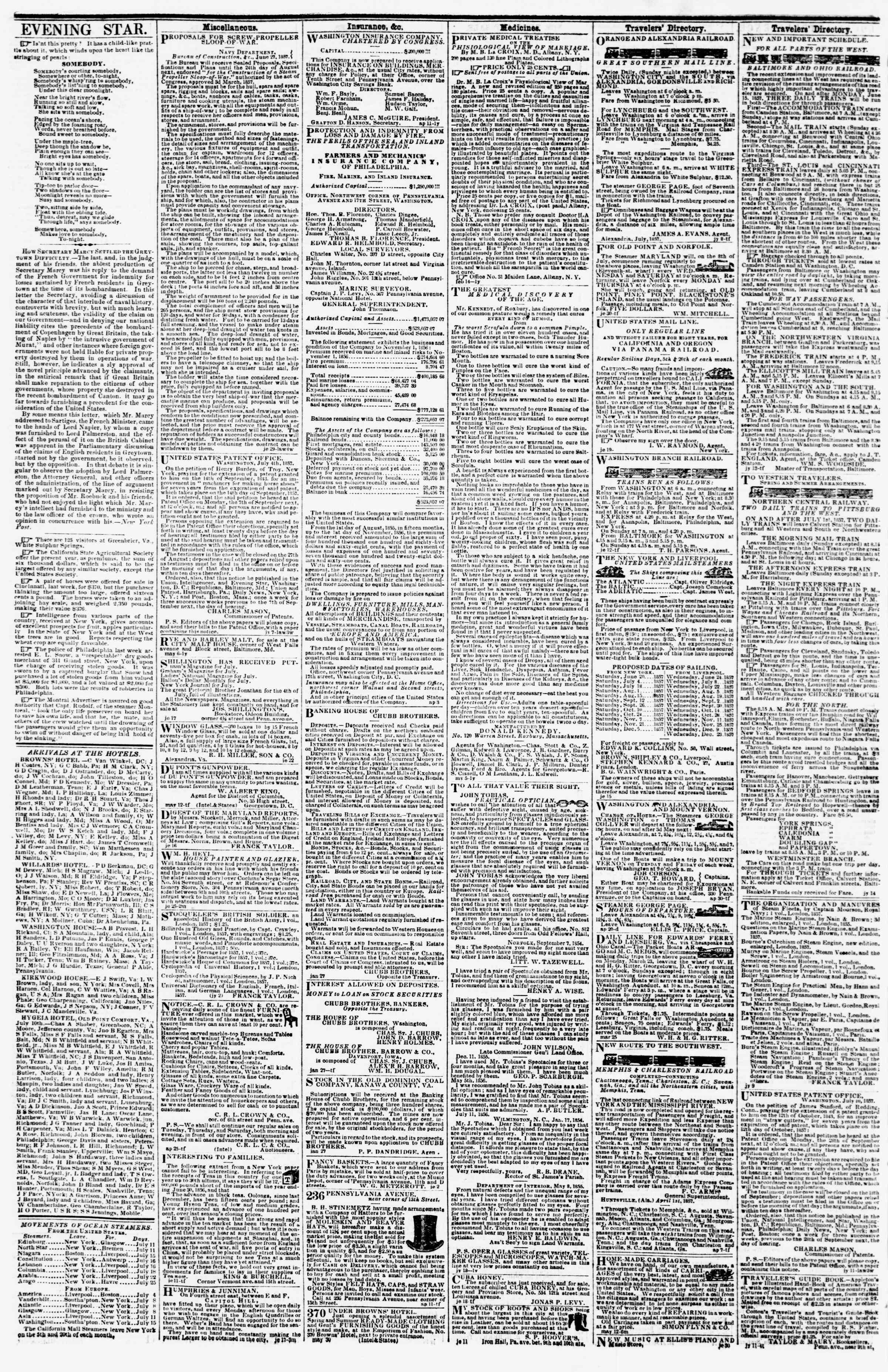 Newspaper of Evening Star dated July 15, 1857 Page 4