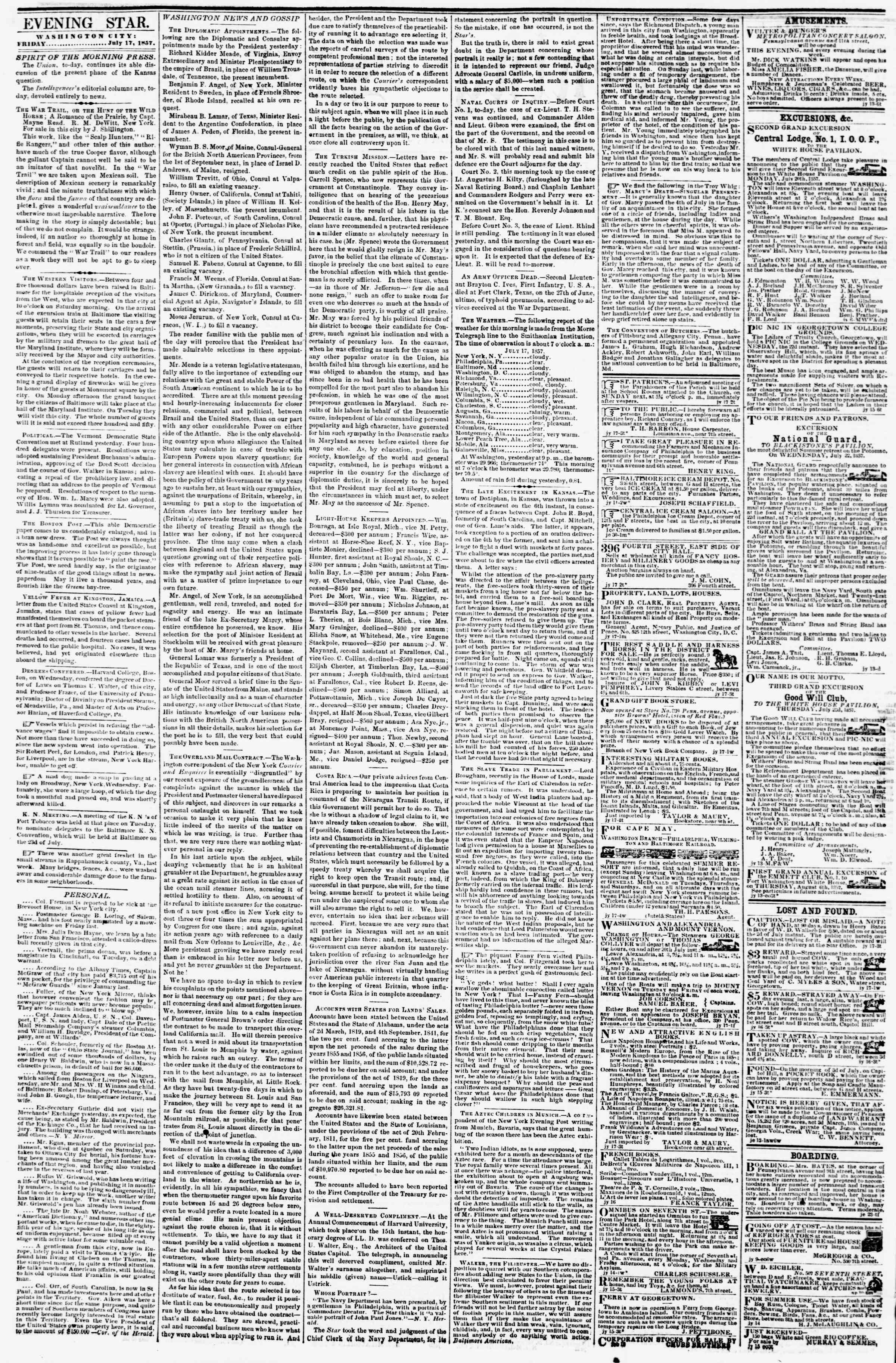 Newspaper of Evening Star dated July 17, 1857 Page 2