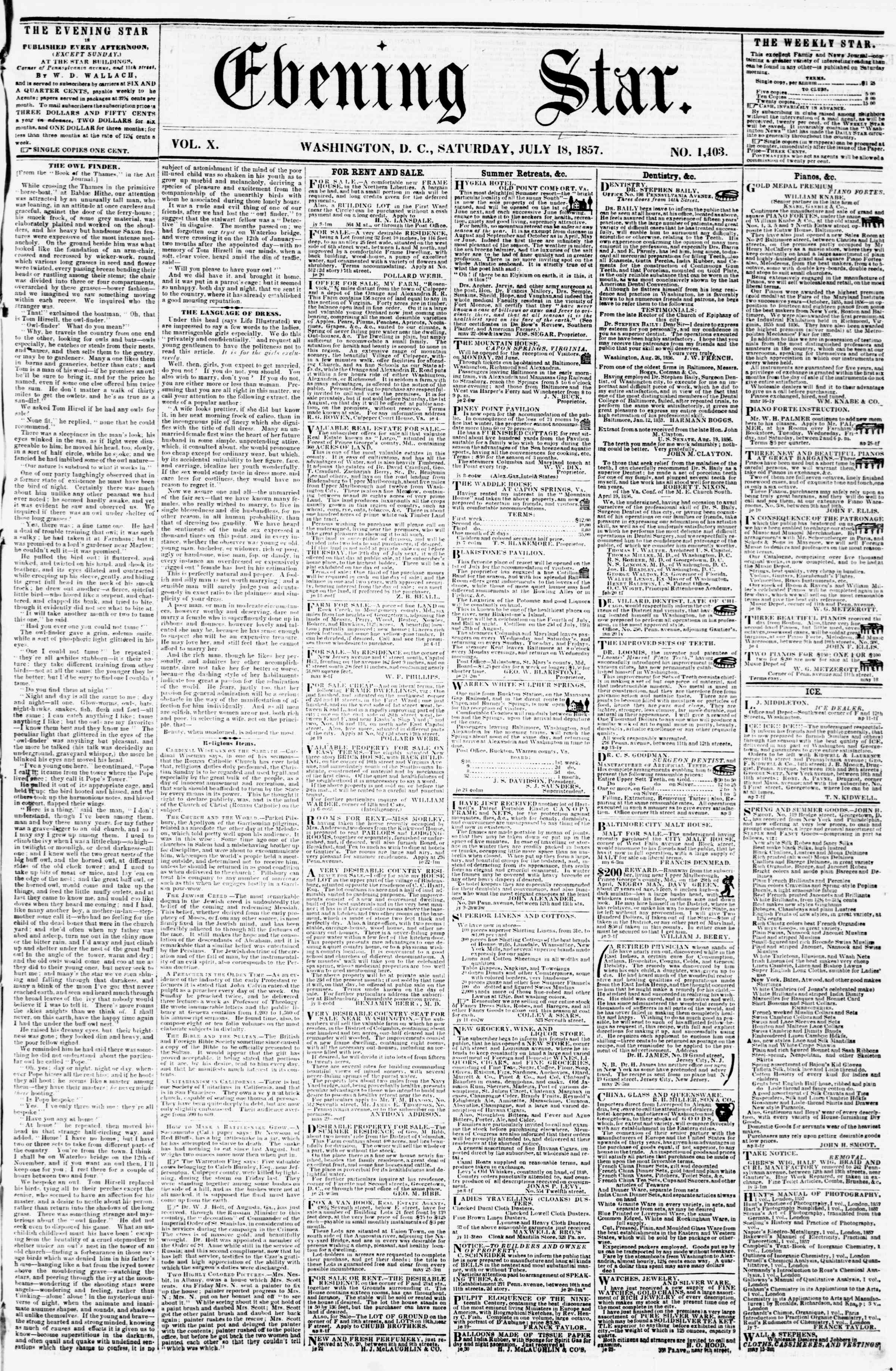 Newspaper of Evening Star dated July 18, 1857 Page 1