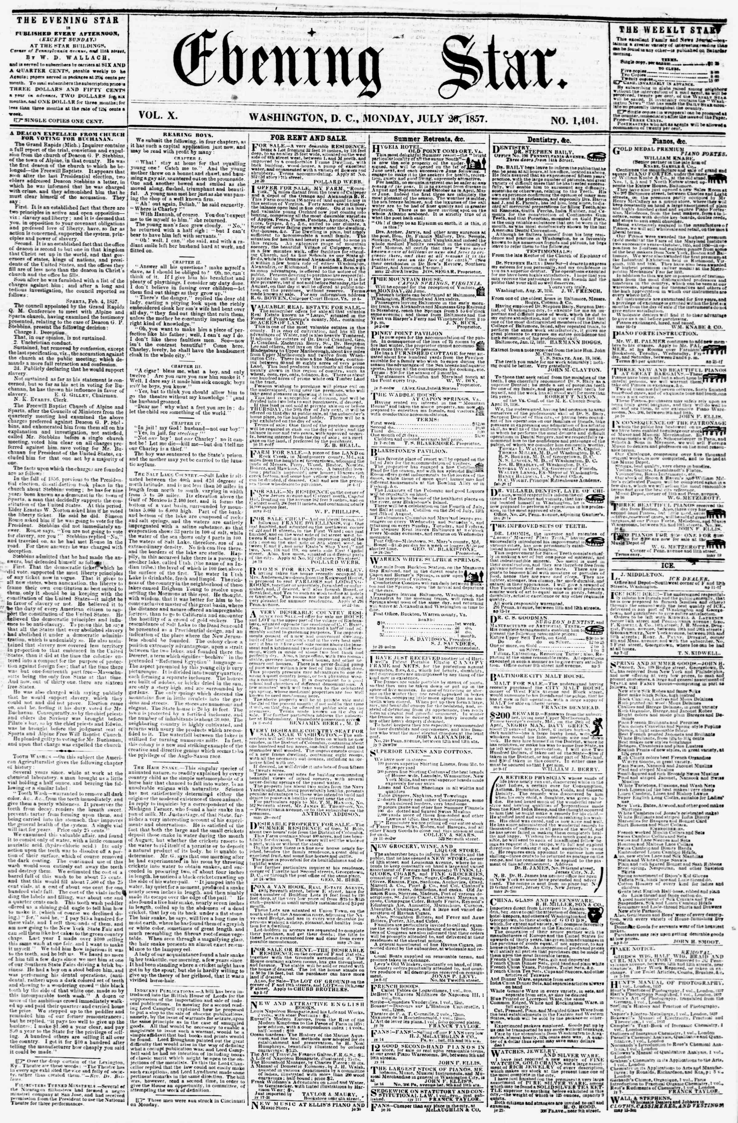 Newspaper of Evening Star dated July 20, 1857 Page 1