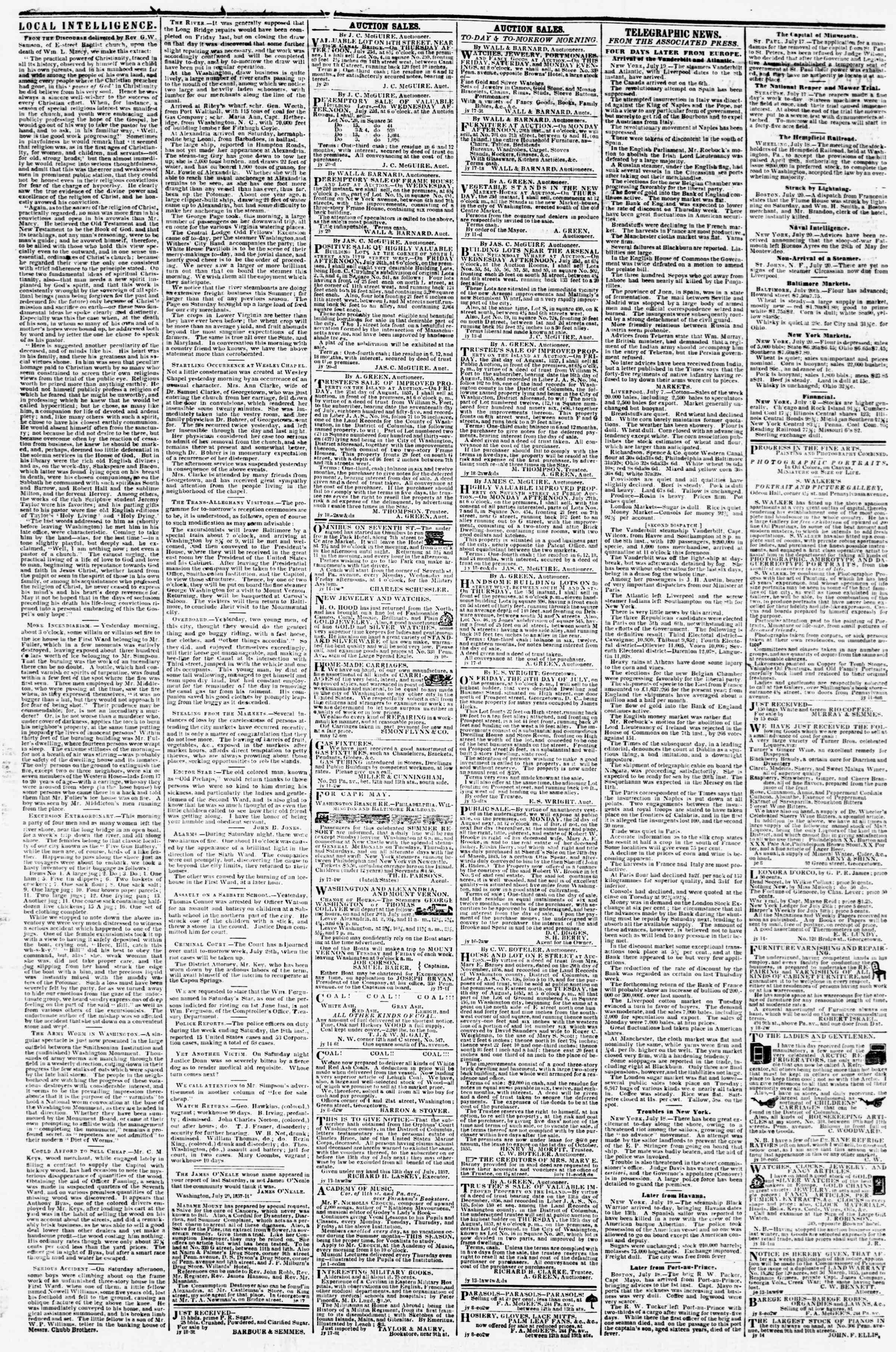 Newspaper of Evening Star dated July 20, 1857 Page 3