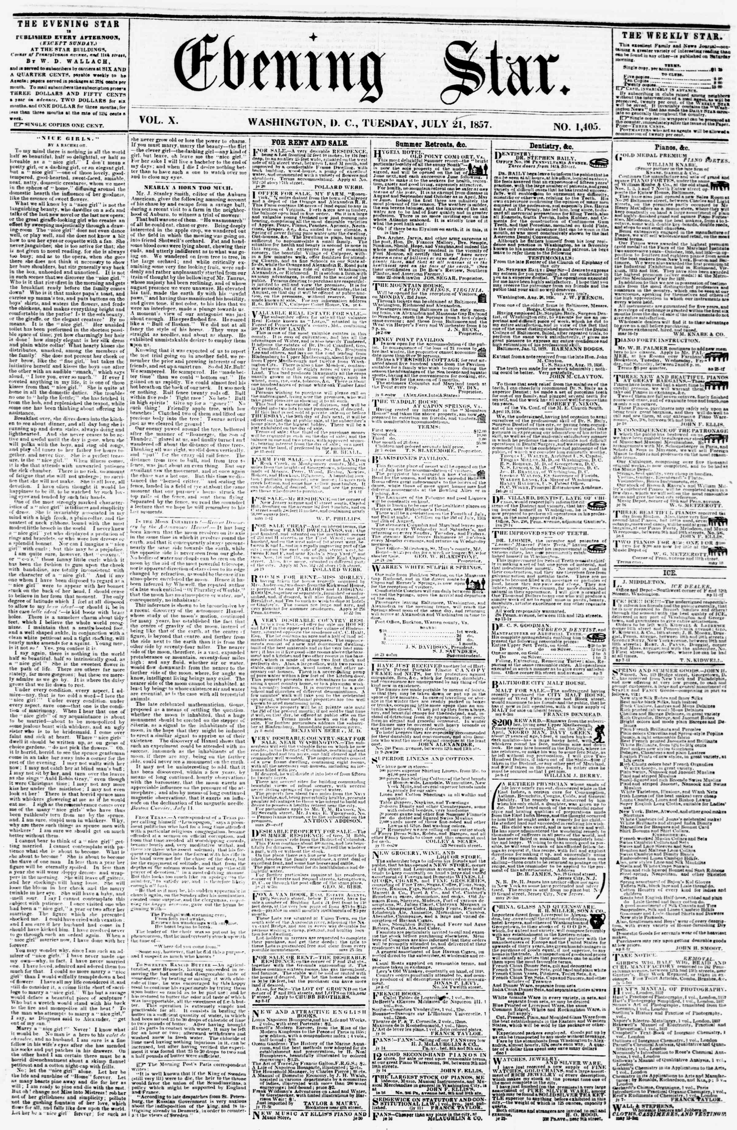 Newspaper of Evening Star dated July 21, 1857 Page 1