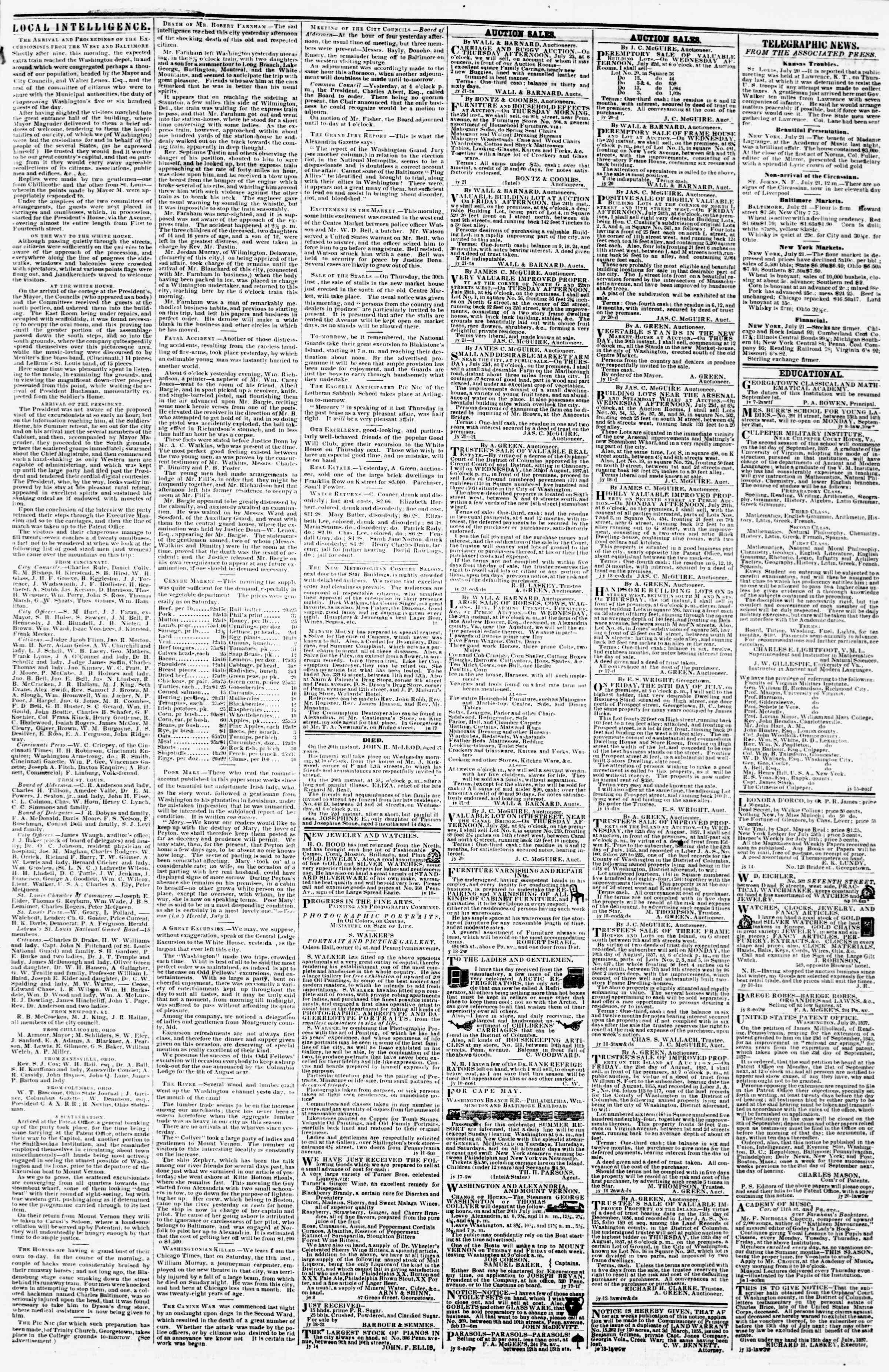 Newspaper of Evening Star dated July 21, 1857 Page 3