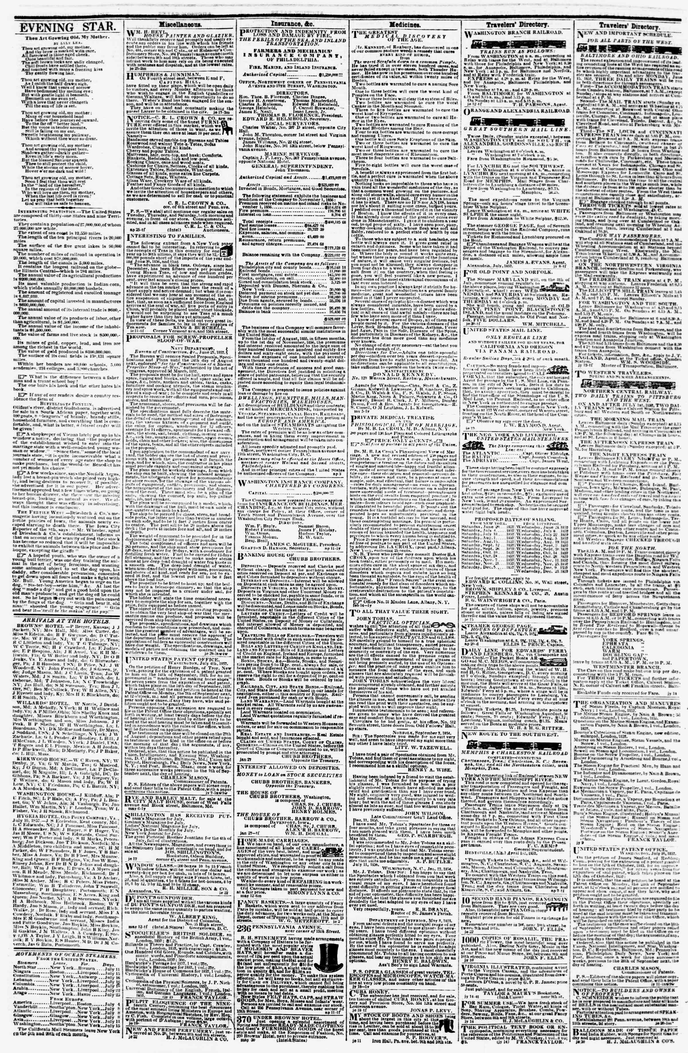 Newspaper of Evening Star dated July 21, 1857 Page 4