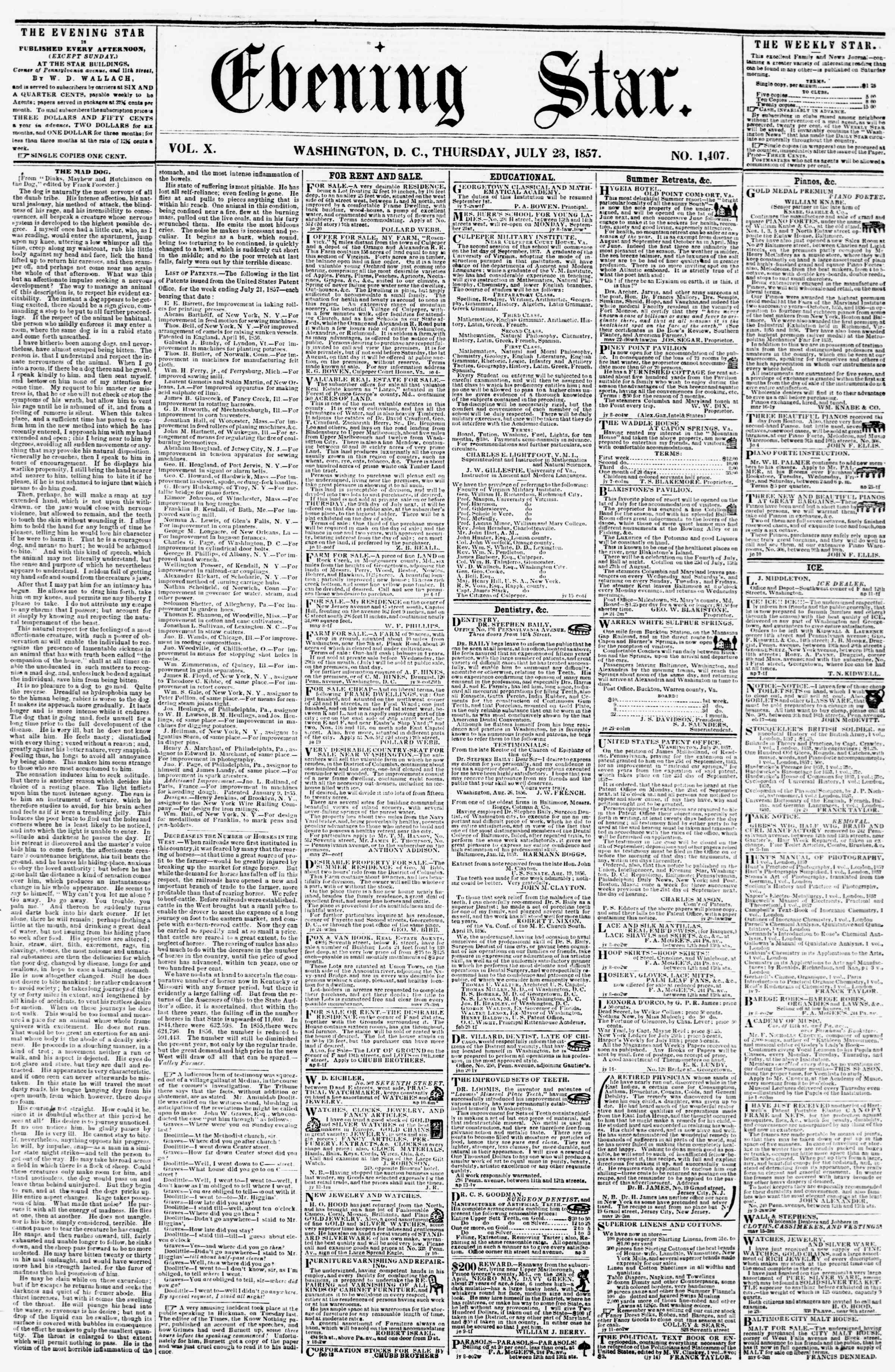 Newspaper of Evening Star dated 23 Temmuz 1857 Page 1