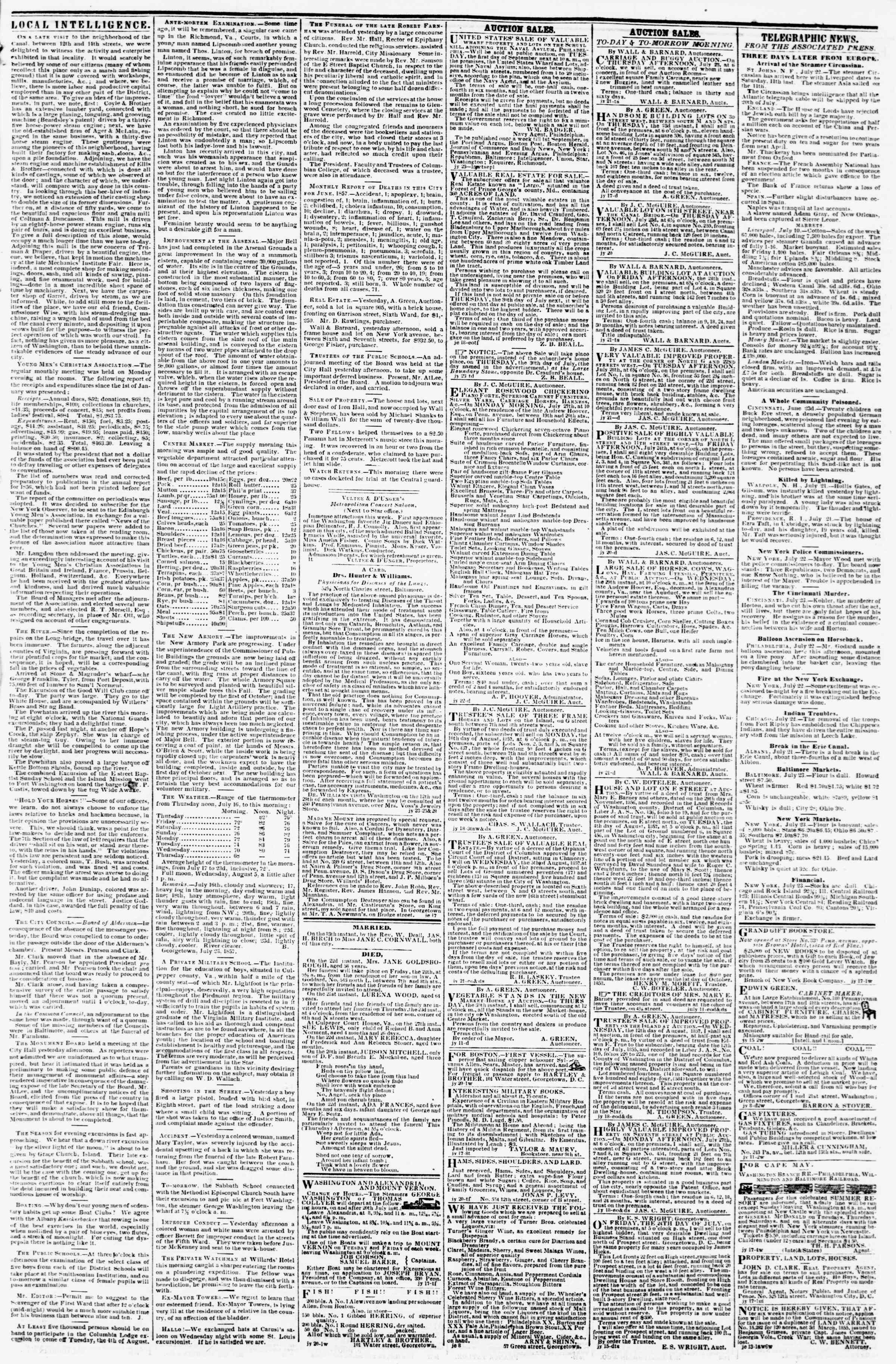 Newspaper of Evening Star dated July 23, 1857 Page 3