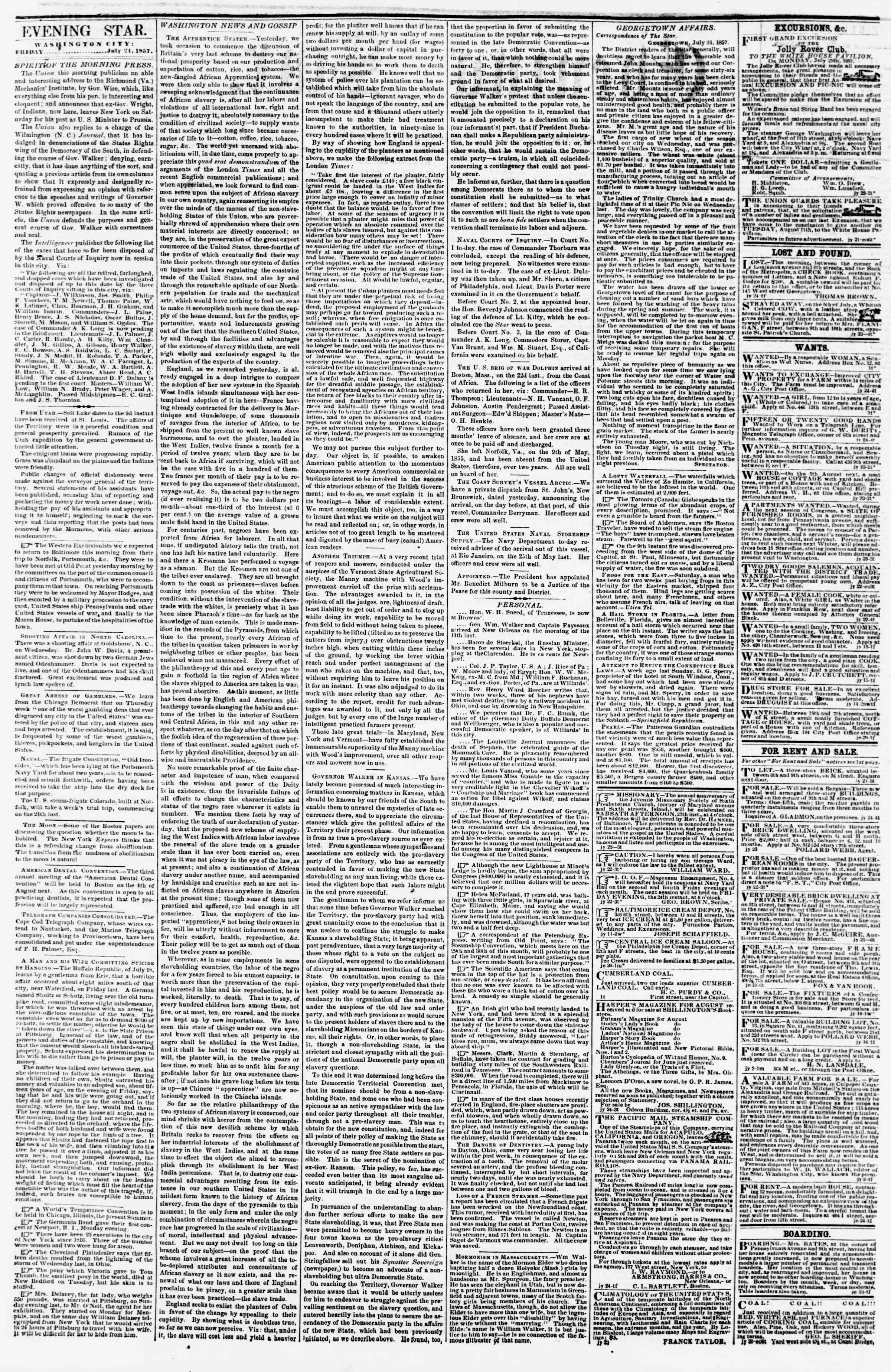 Newspaper of Evening Star dated July 24, 1857 Page 2