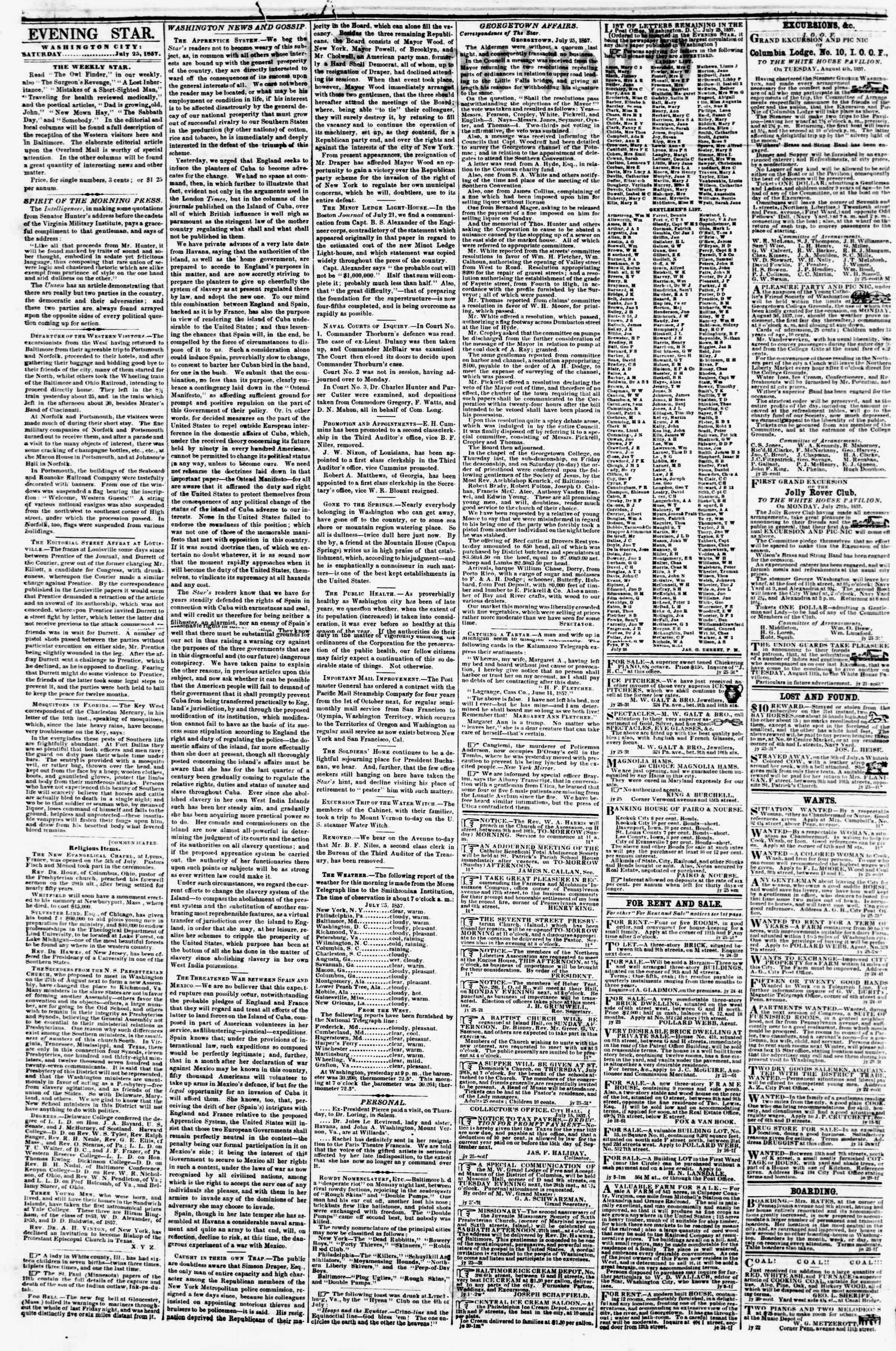 Newspaper of Evening Star dated July 25, 1857 Page 2