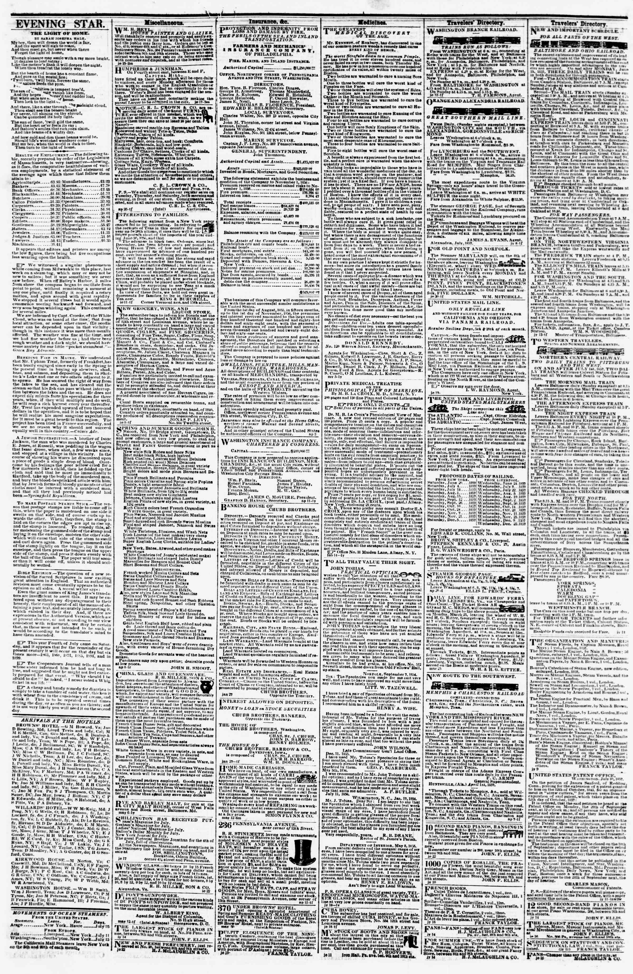 Newspaper of Evening Star dated July 25, 1857 Page 4