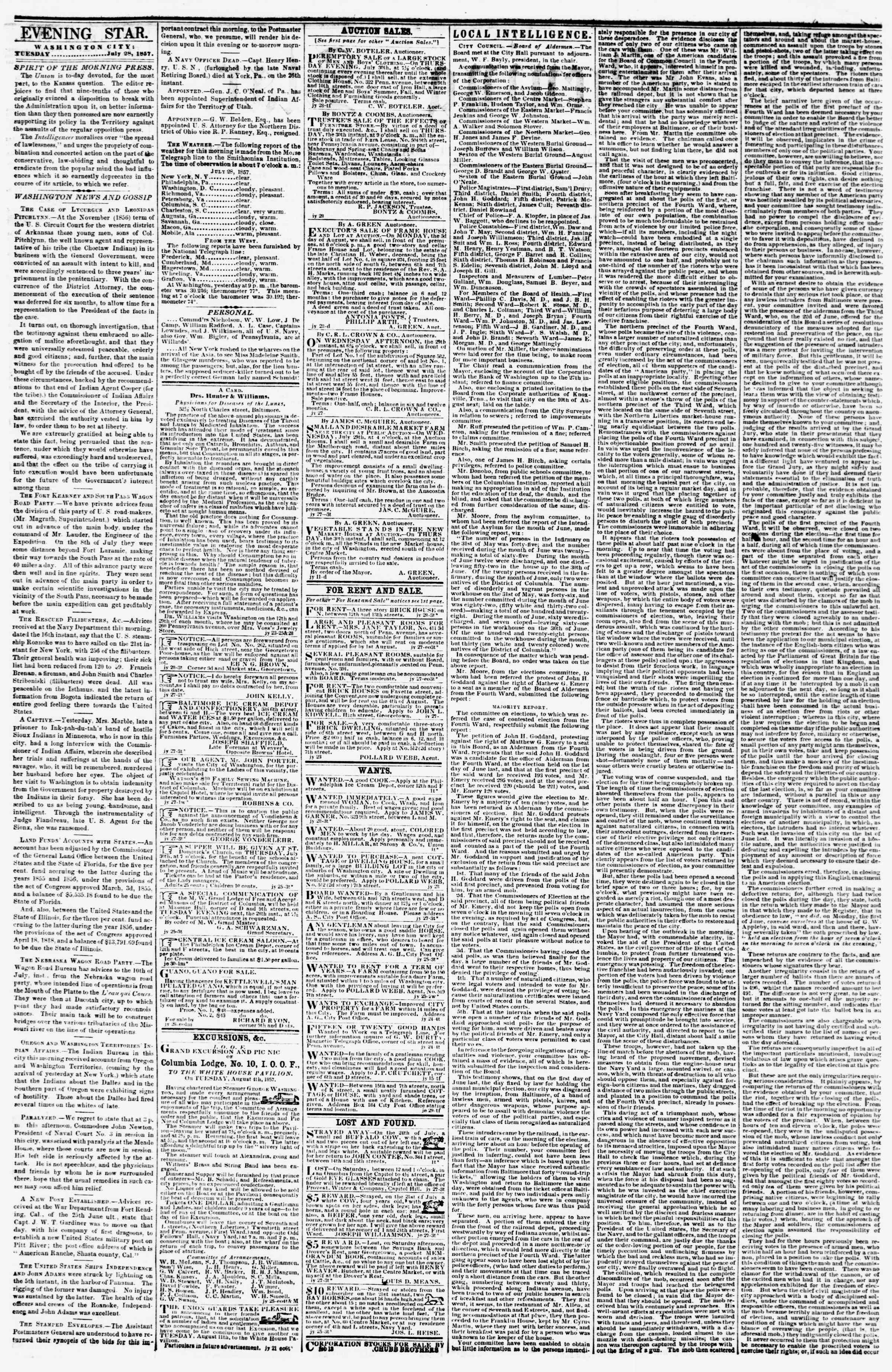 Newspaper of Evening Star dated July 28, 1857 Page 2