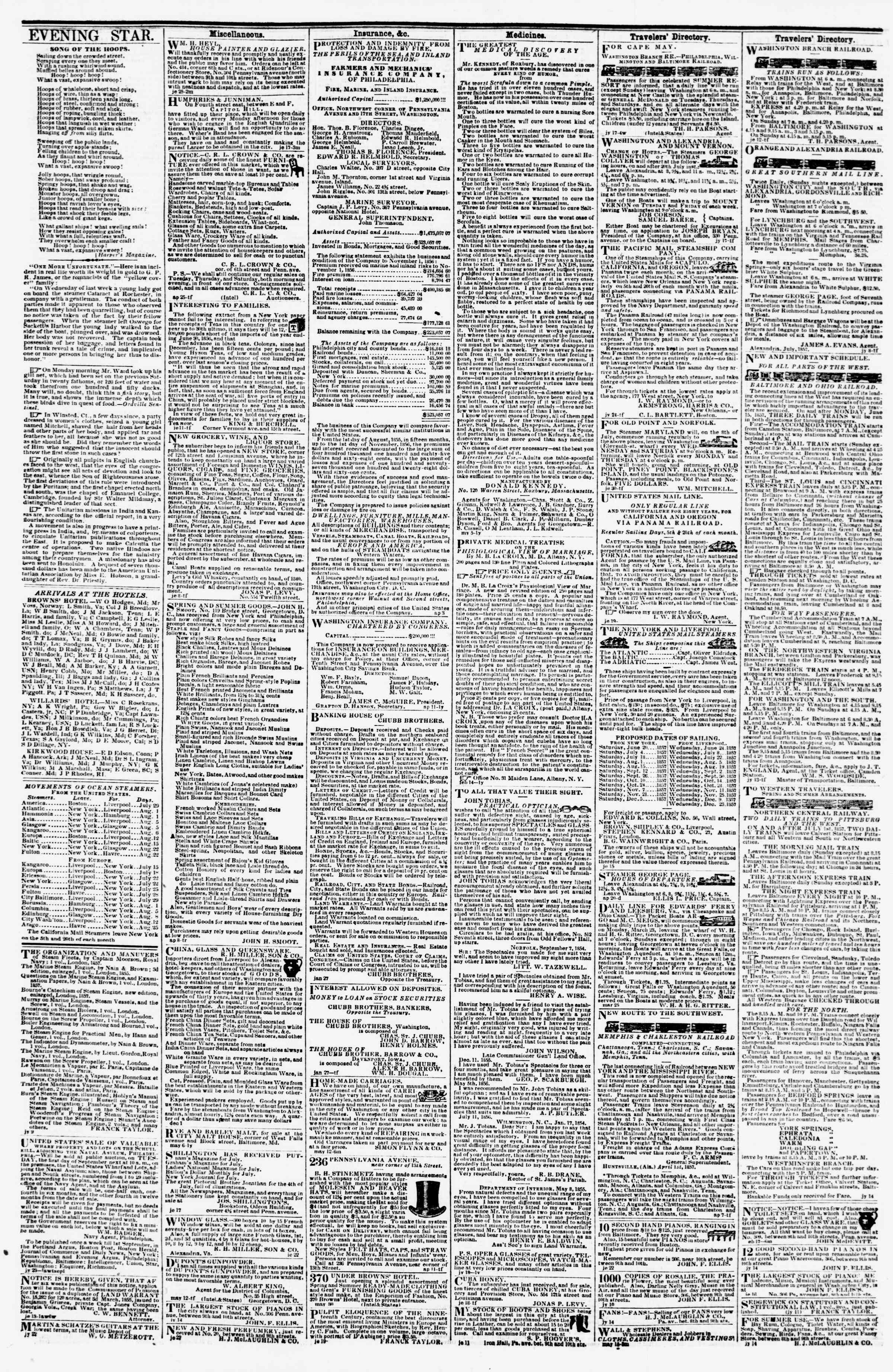 Newspaper of Evening Star dated July 29, 1857 Page 4