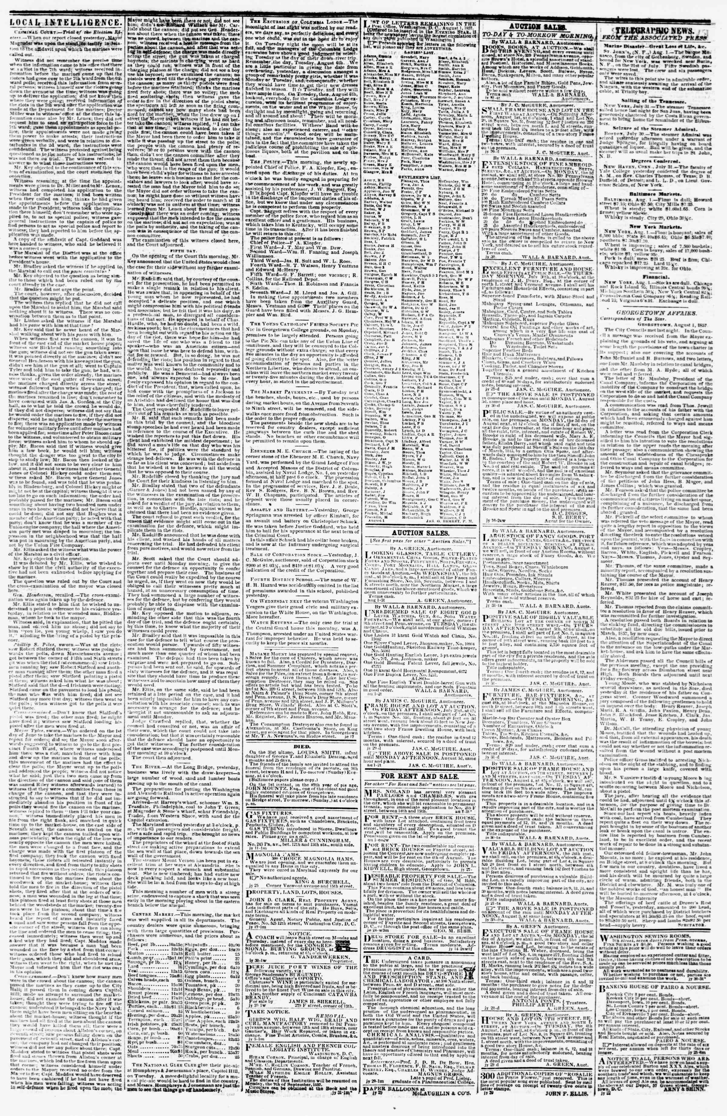 Newspaper of Evening Star dated August 1, 1857 Page 3