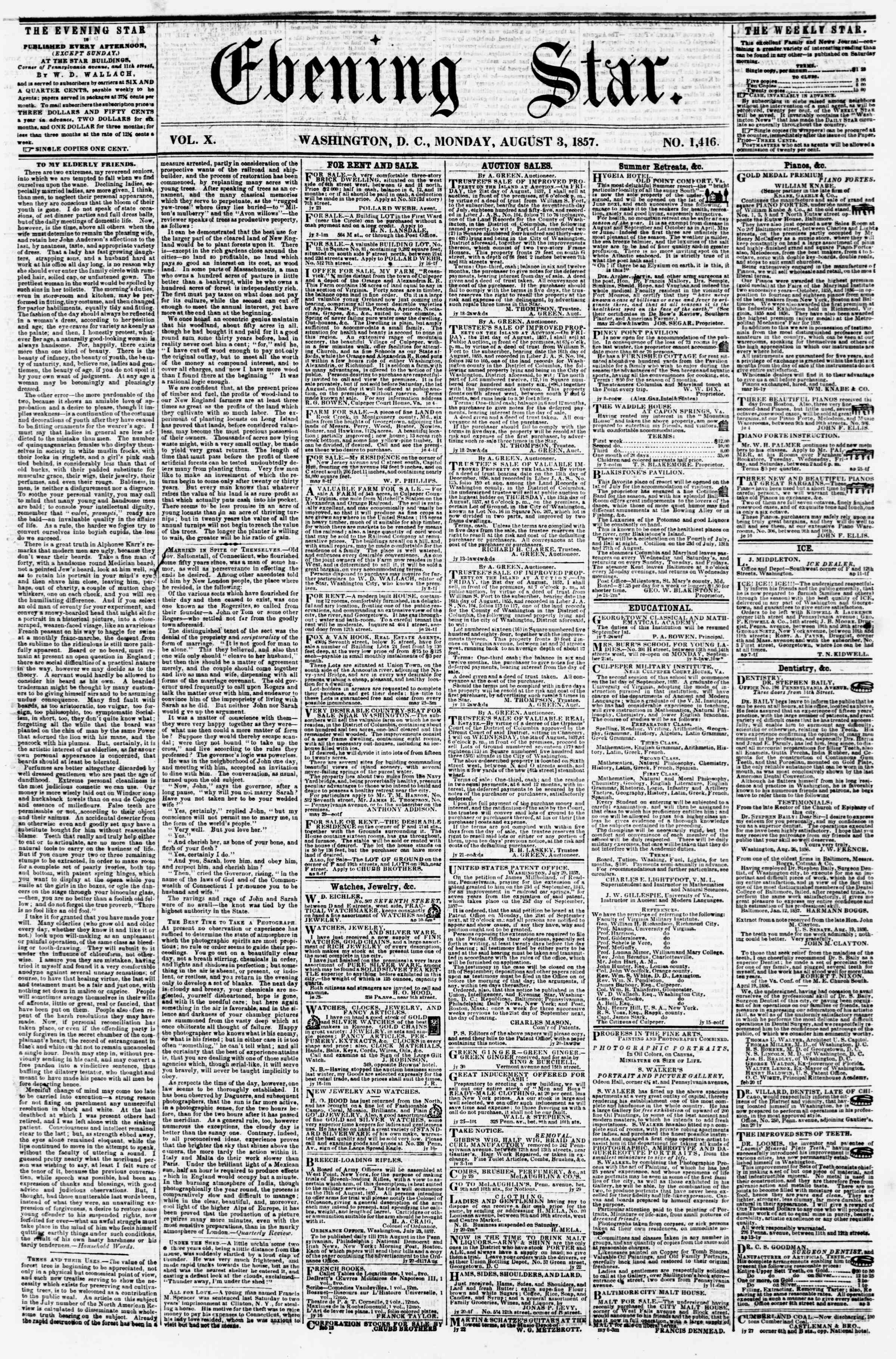 Newspaper of Evening Star dated August 3, 1857 Page 1