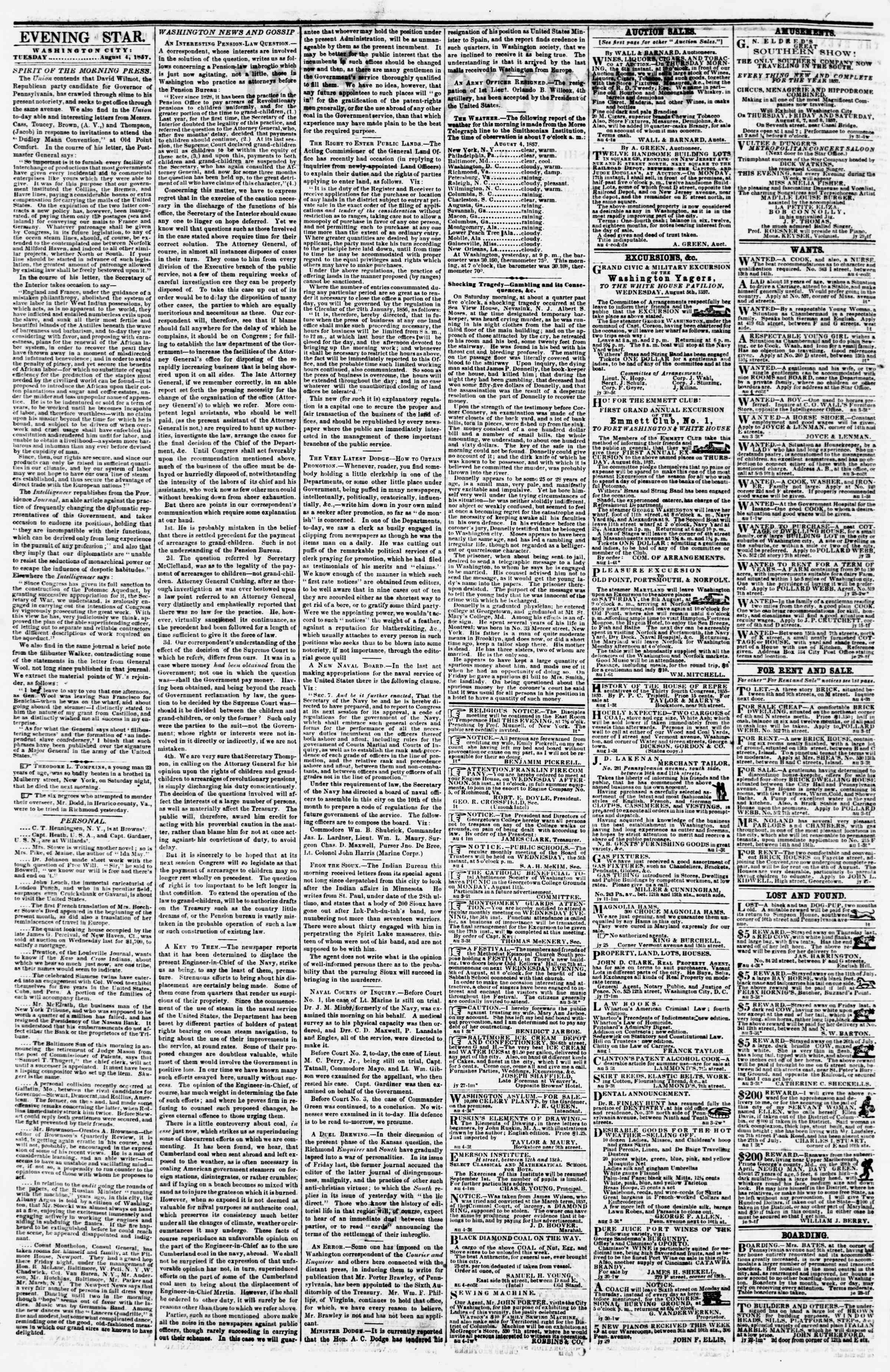 Newspaper of Evening Star dated August 4, 1857 Page 2