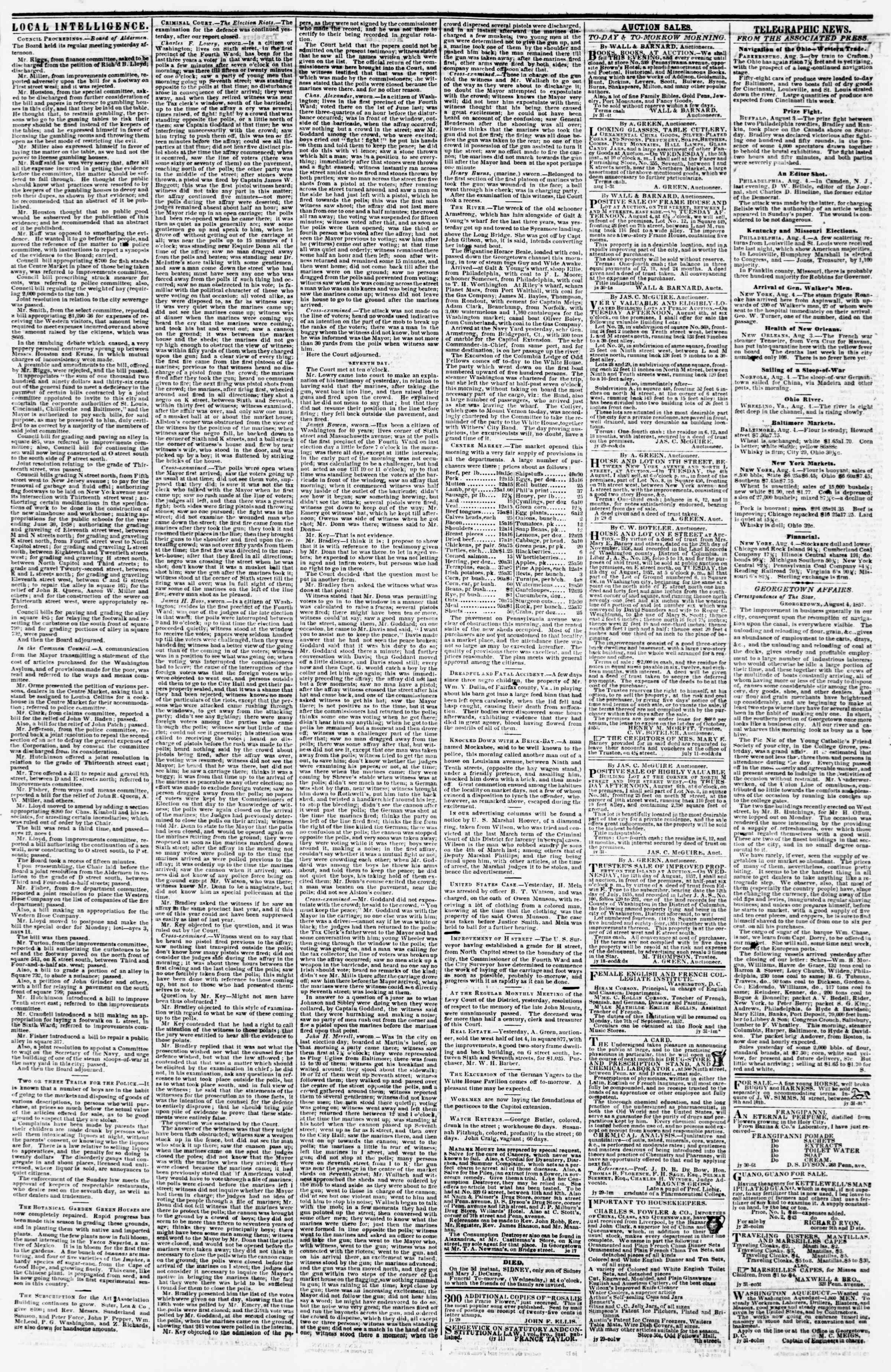 Newspaper of Evening Star dated August 4, 1857 Page 3
