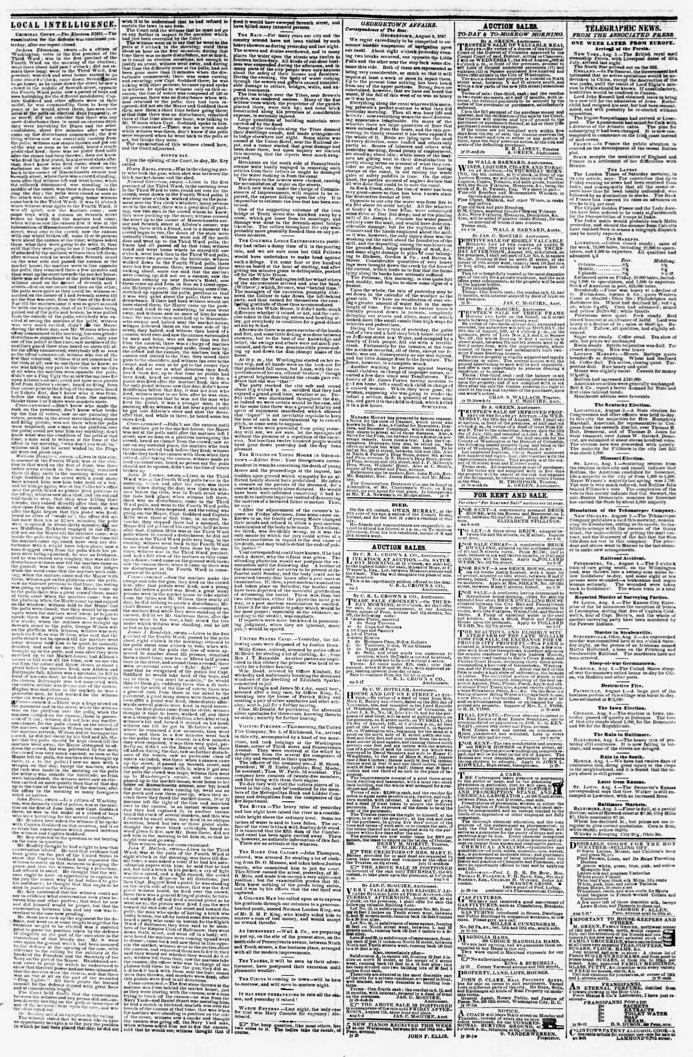 Newspaper of Evening Star dated August 5, 1857 Page 3