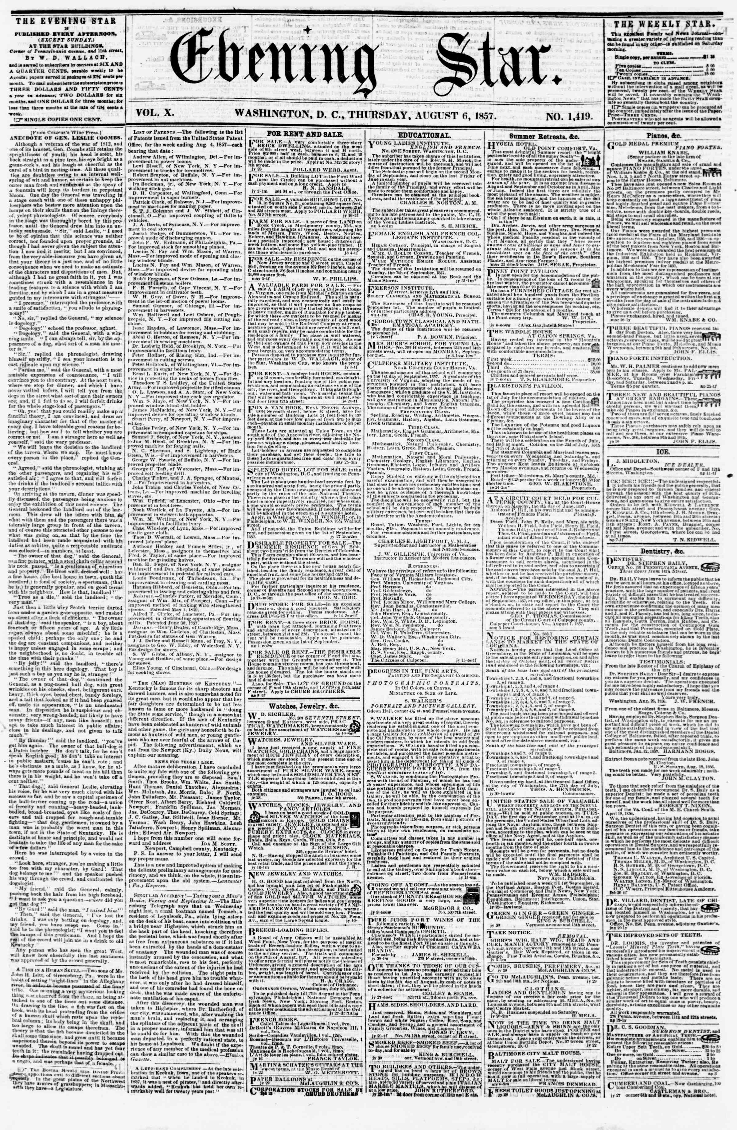 Newspaper of Evening Star dated August 6, 1857 Page 1