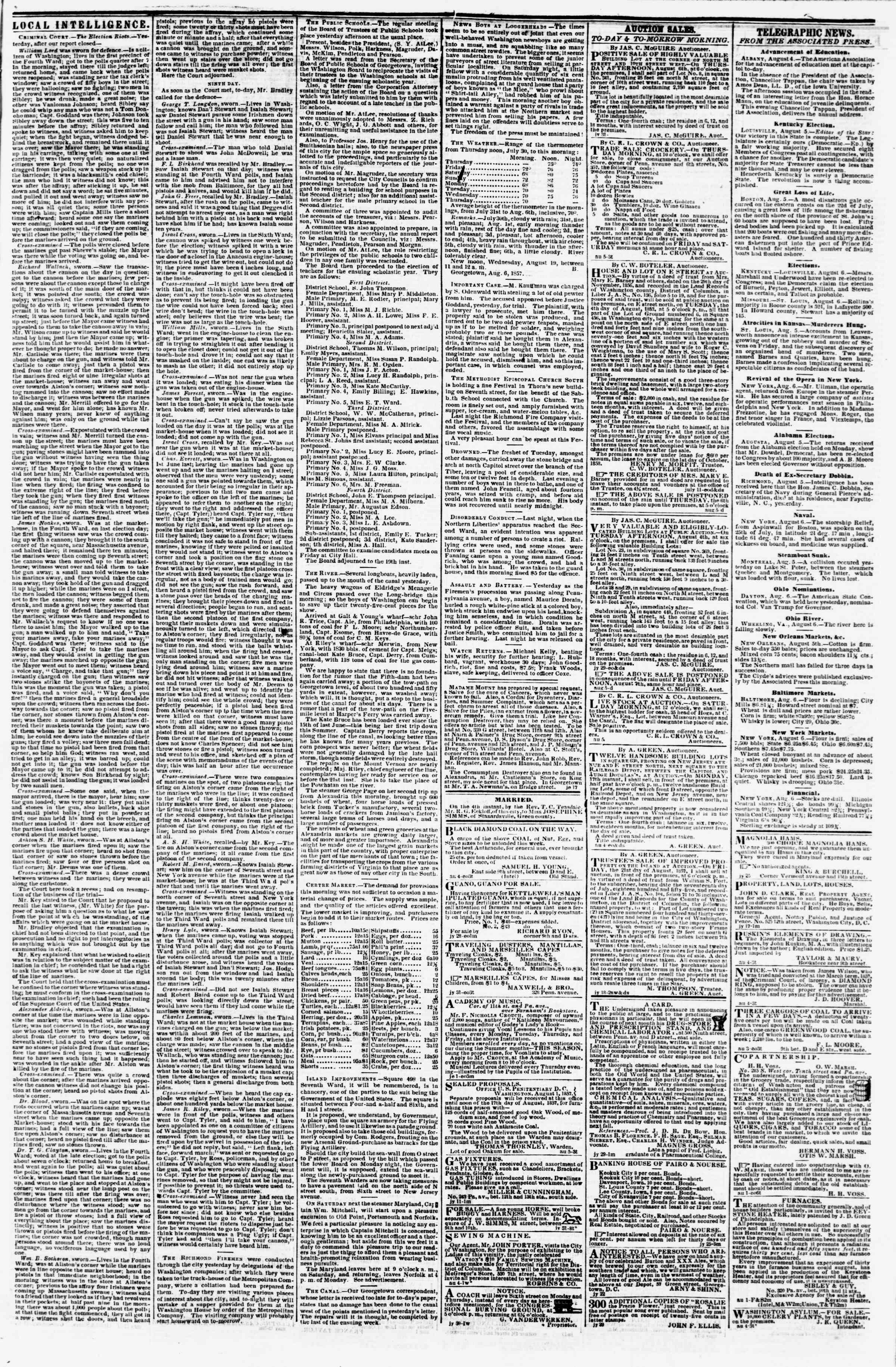 Newspaper of Evening Star dated August 6, 1857 Page 3