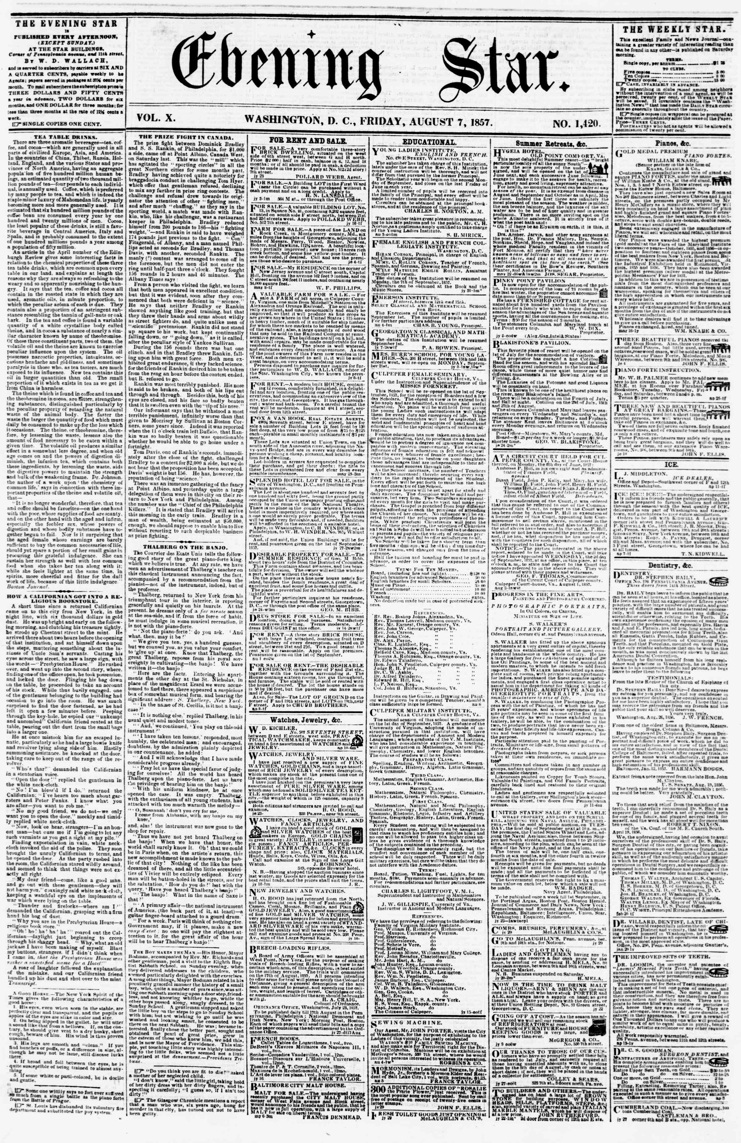 Newspaper of Evening Star dated August 7, 1857 Page 1