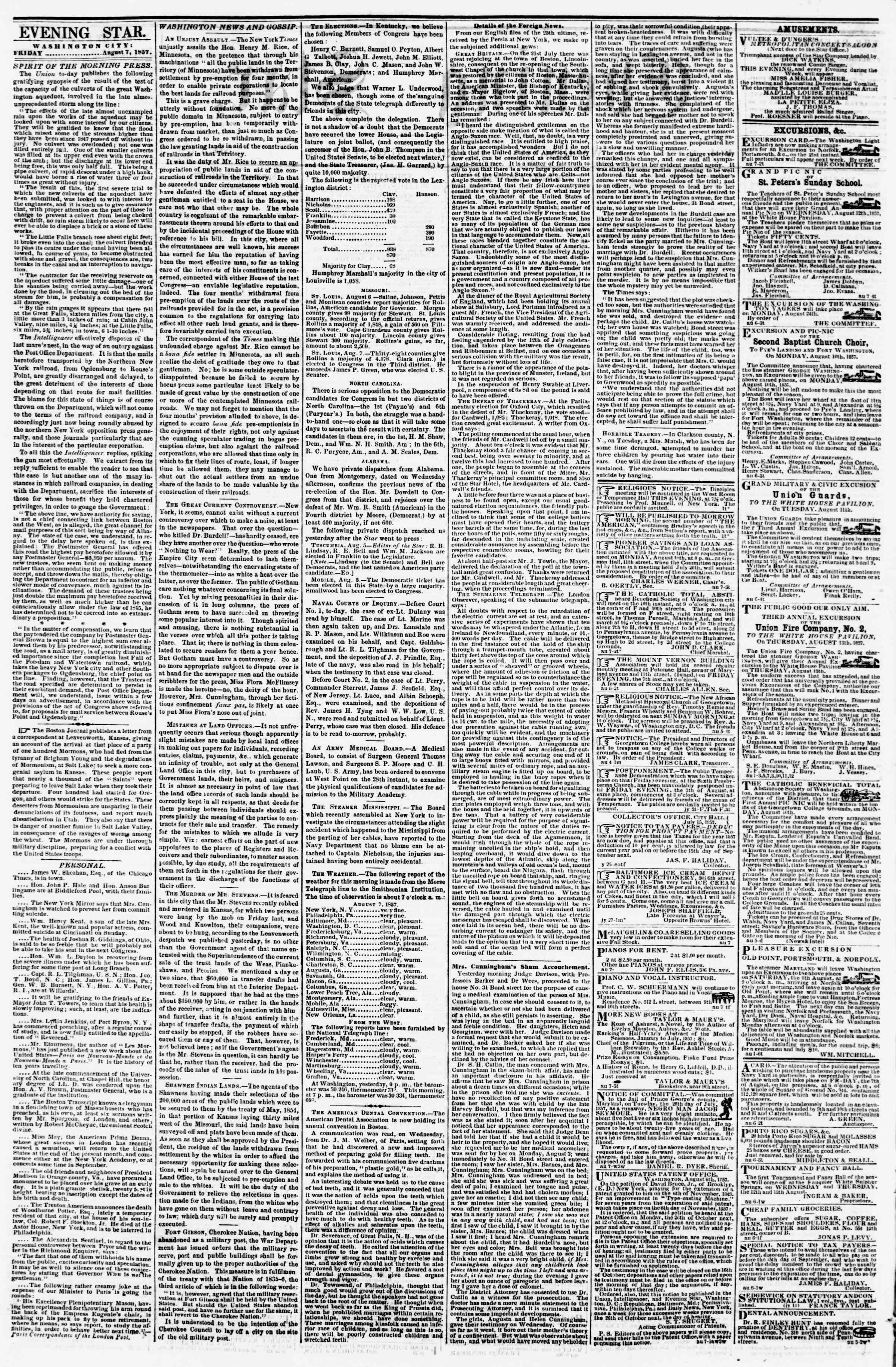 Newspaper of Evening Star dated August 7, 1857 Page 2