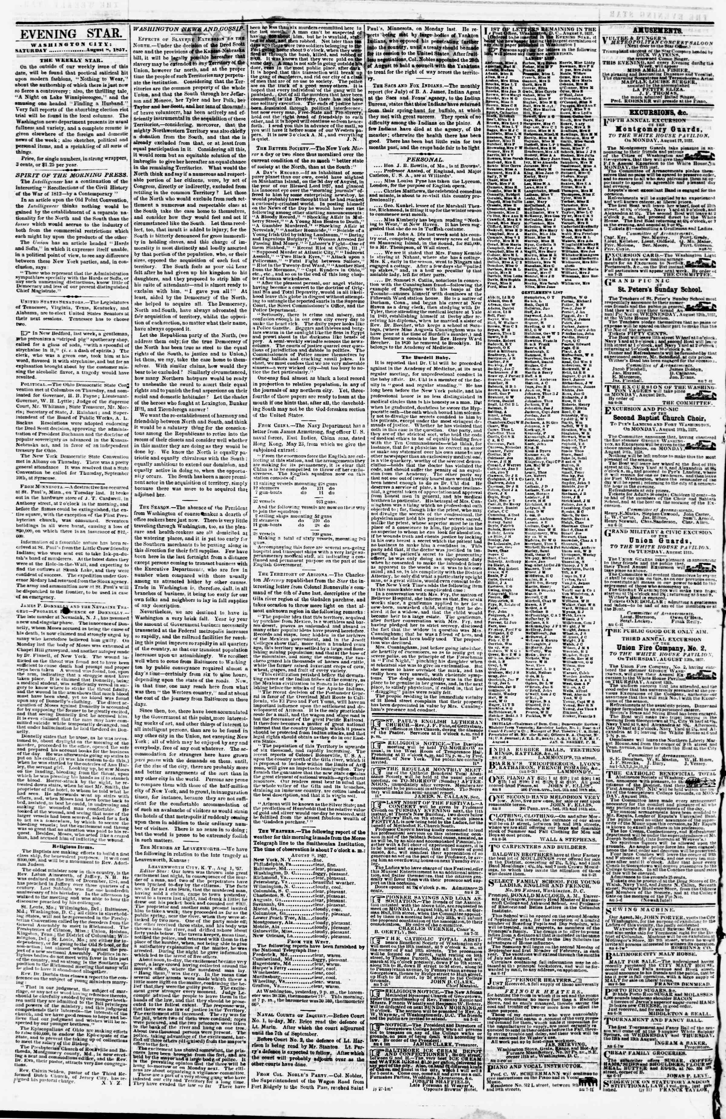 Newspaper of Evening Star dated August 8, 1857 Page 2
