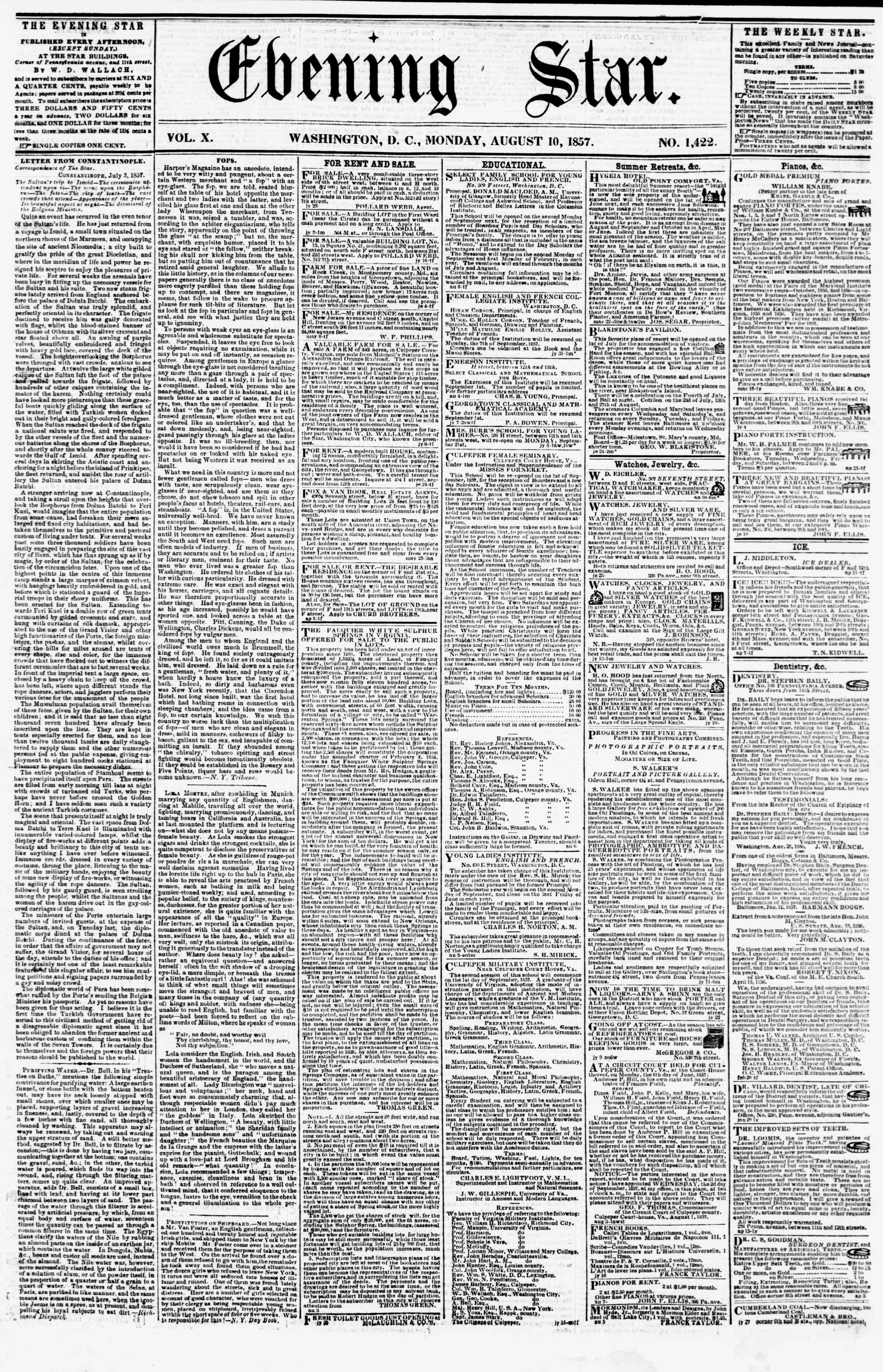 Newspaper of Evening Star dated August 10, 1857 Page 1