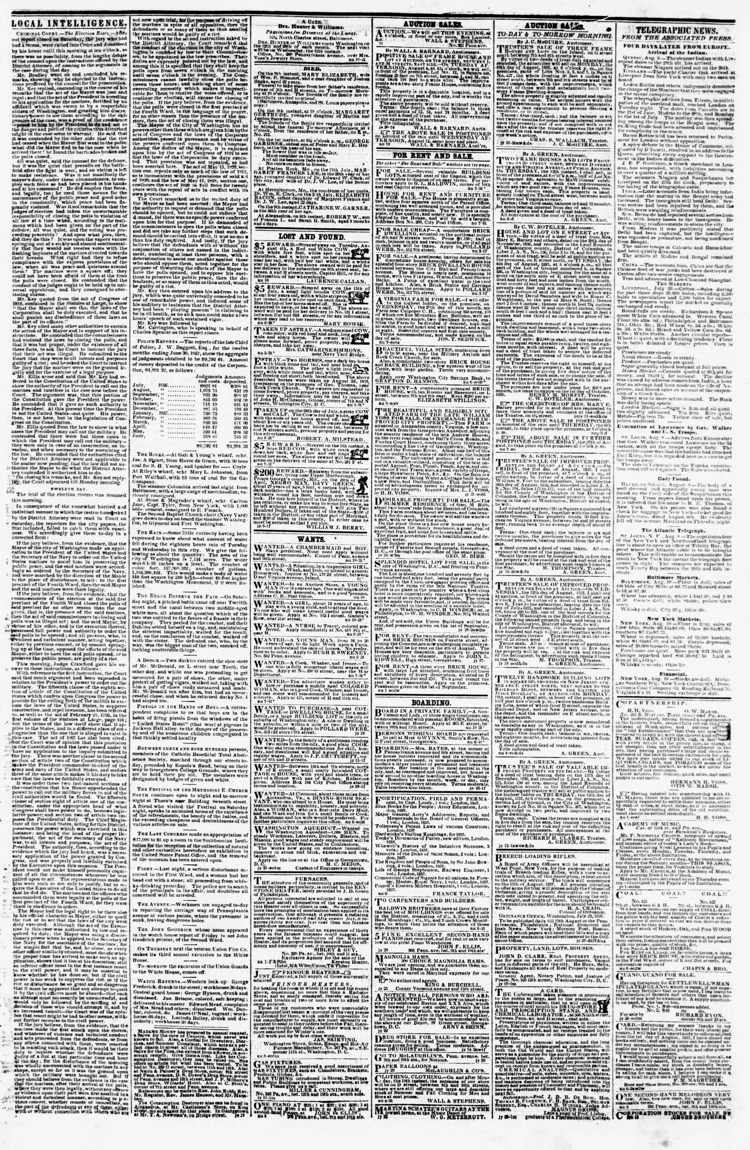 Newspaper of Evening Star dated August 10, 1857 Page 3