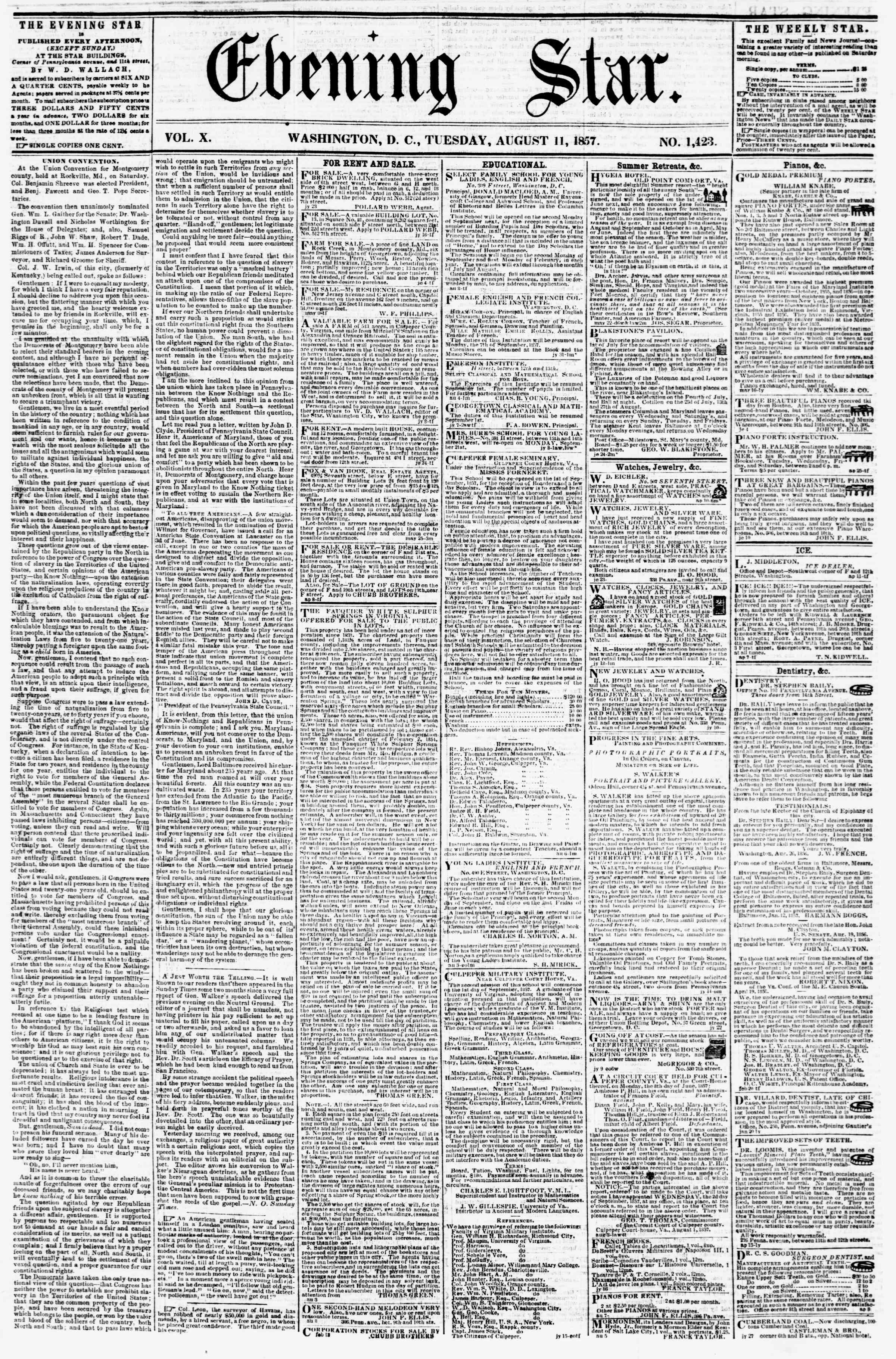 Newspaper of Evening Star dated August 11, 1857 Page 1