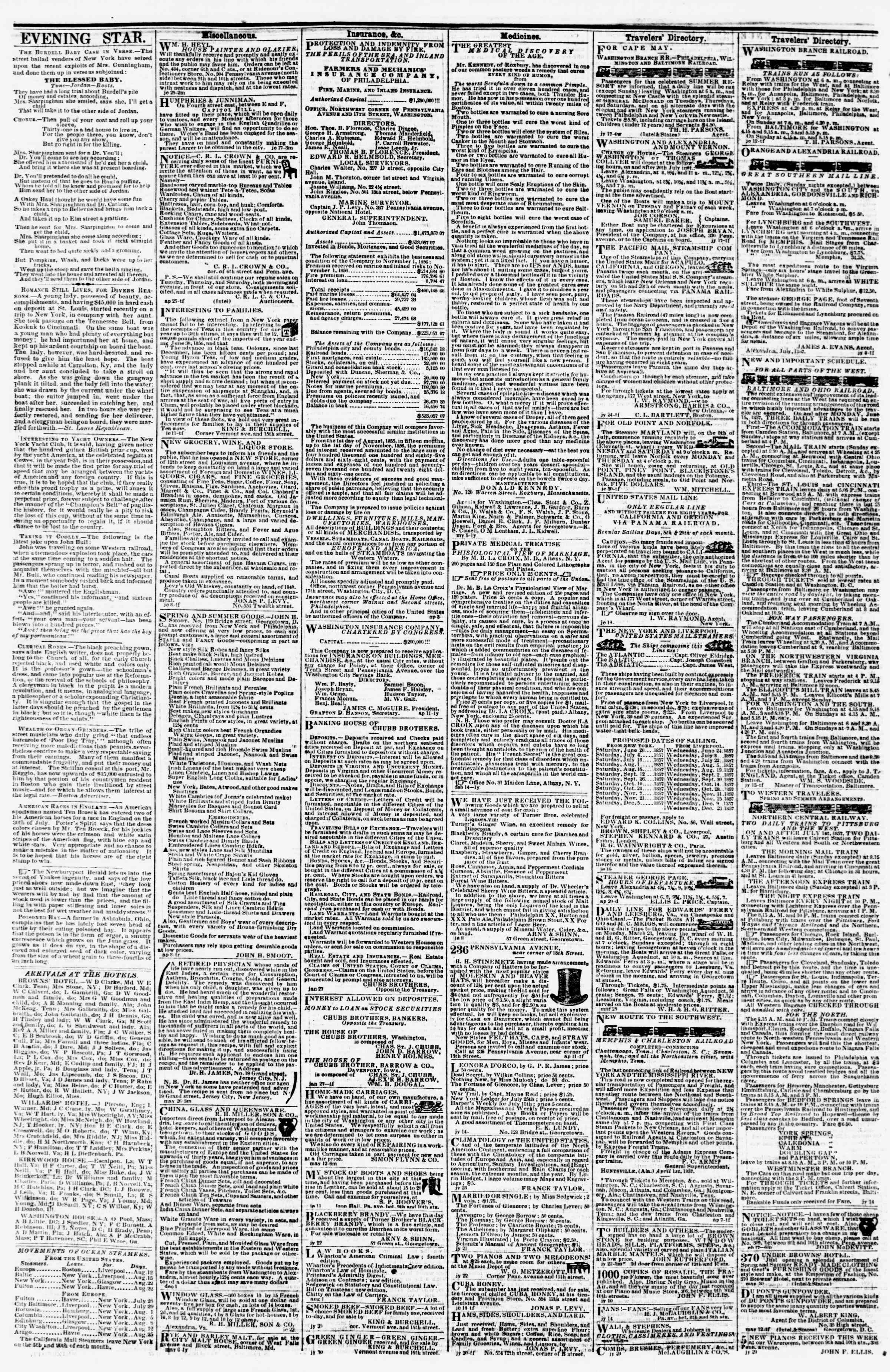 Newspaper of Evening Star dated August 11, 1857 Page 4
