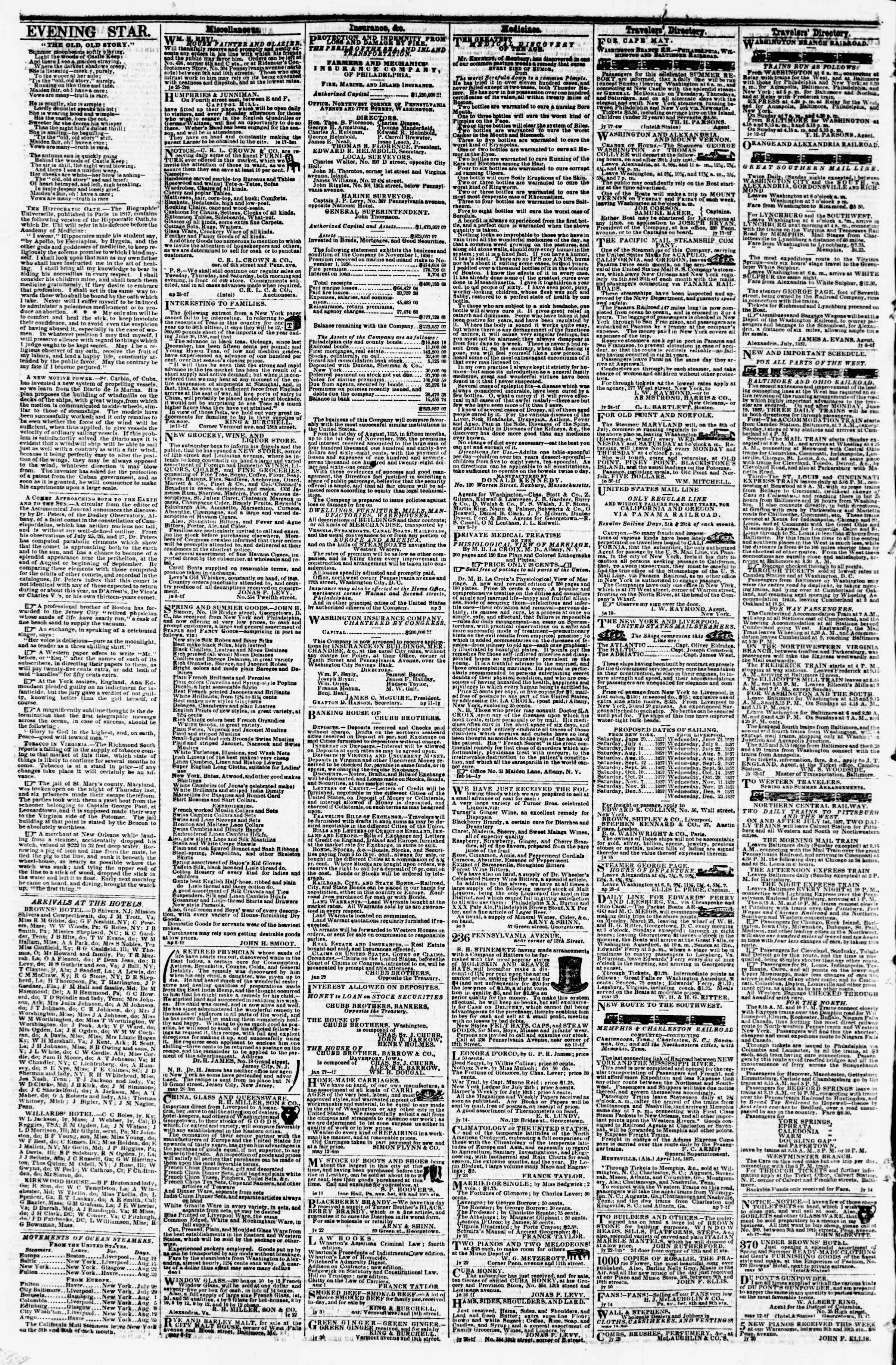 Newspaper of Evening Star dated August 12, 1857 Page 4