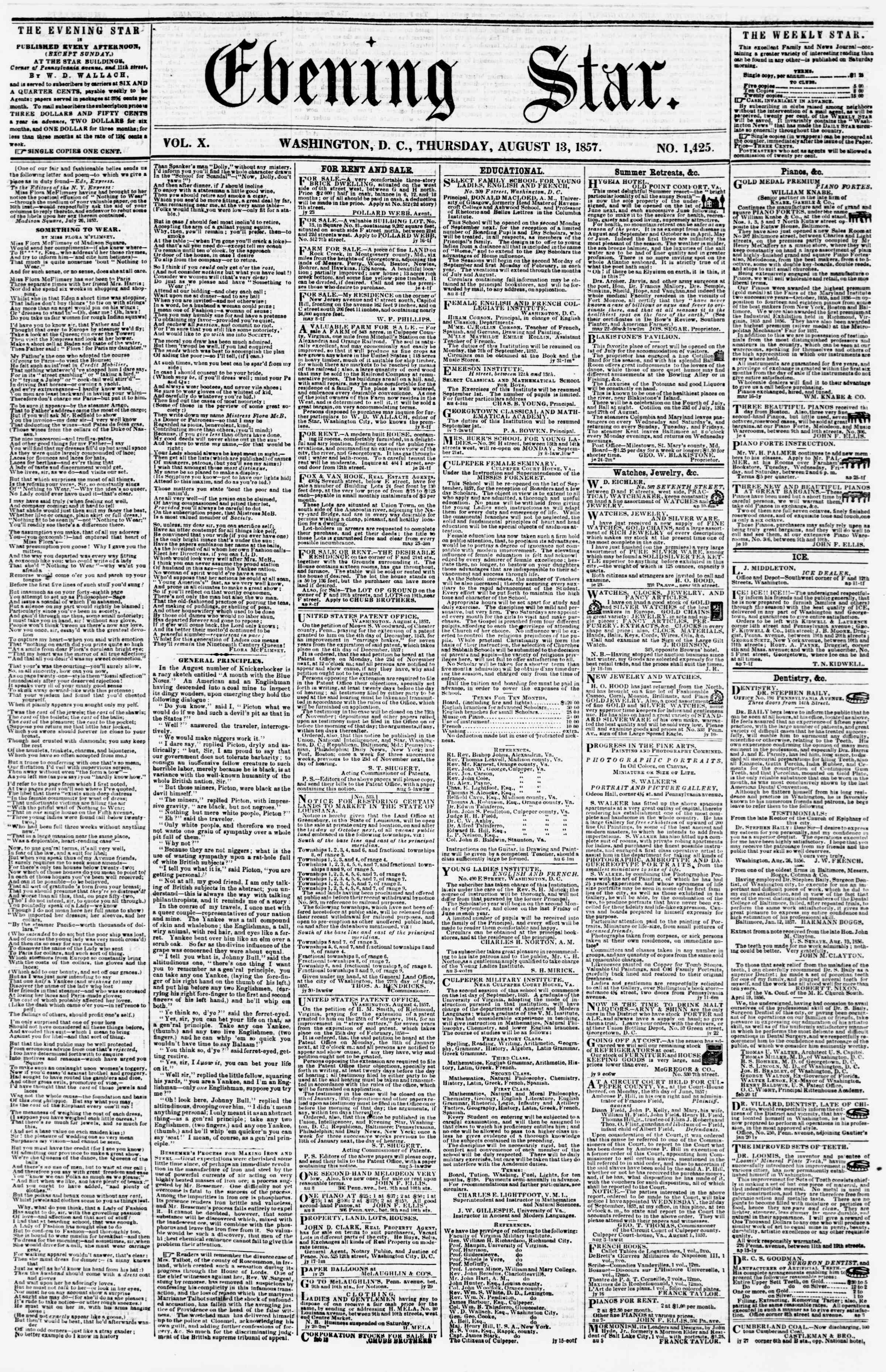 Newspaper of Evening Star dated August 13, 1857 Page 1