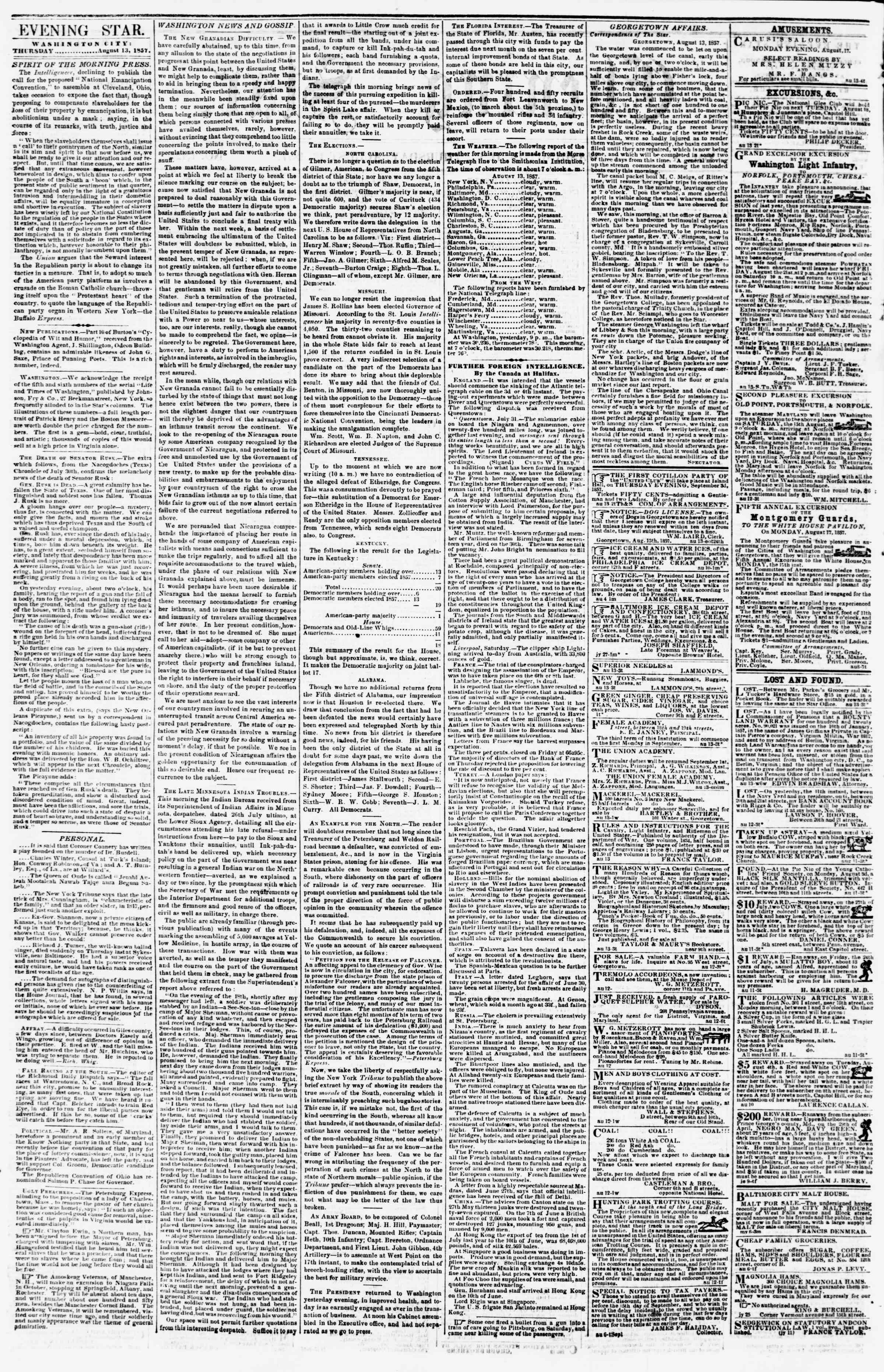 Newspaper of Evening Star dated August 13, 1857 Page 2