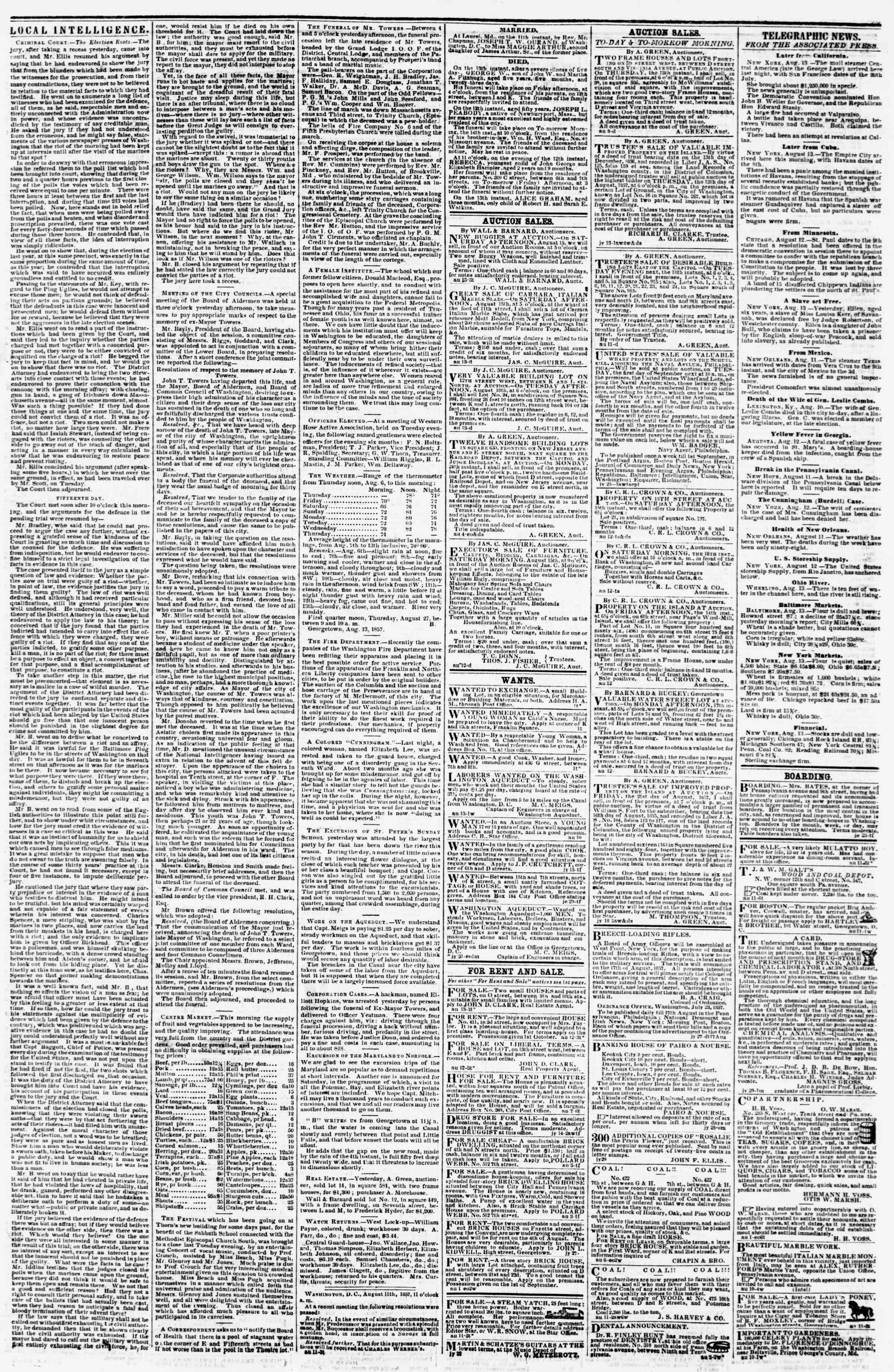 Newspaper of Evening Star dated August 13, 1857 Page 3