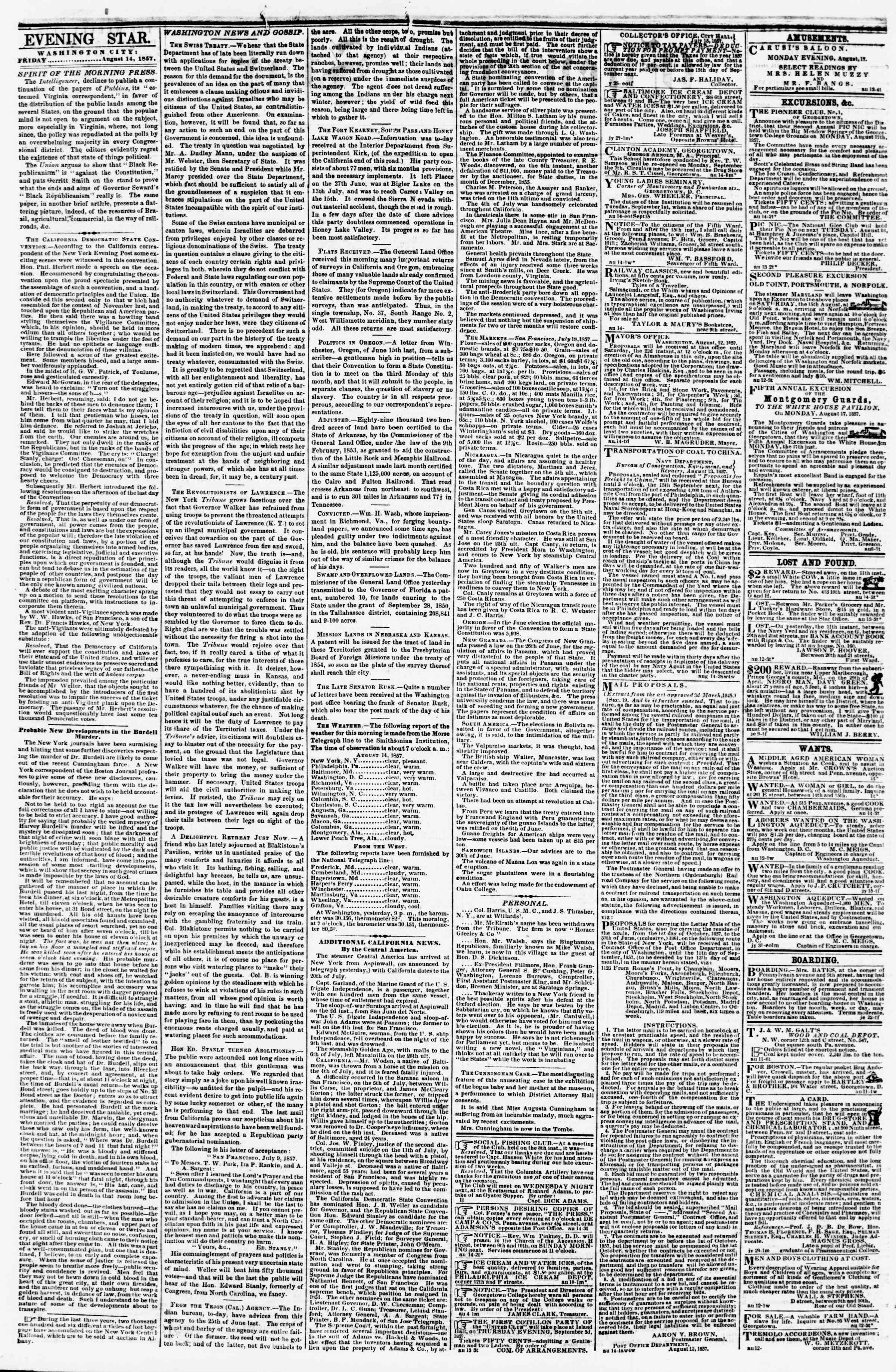 Newspaper of Evening Star dated August 14, 1857 Page 2