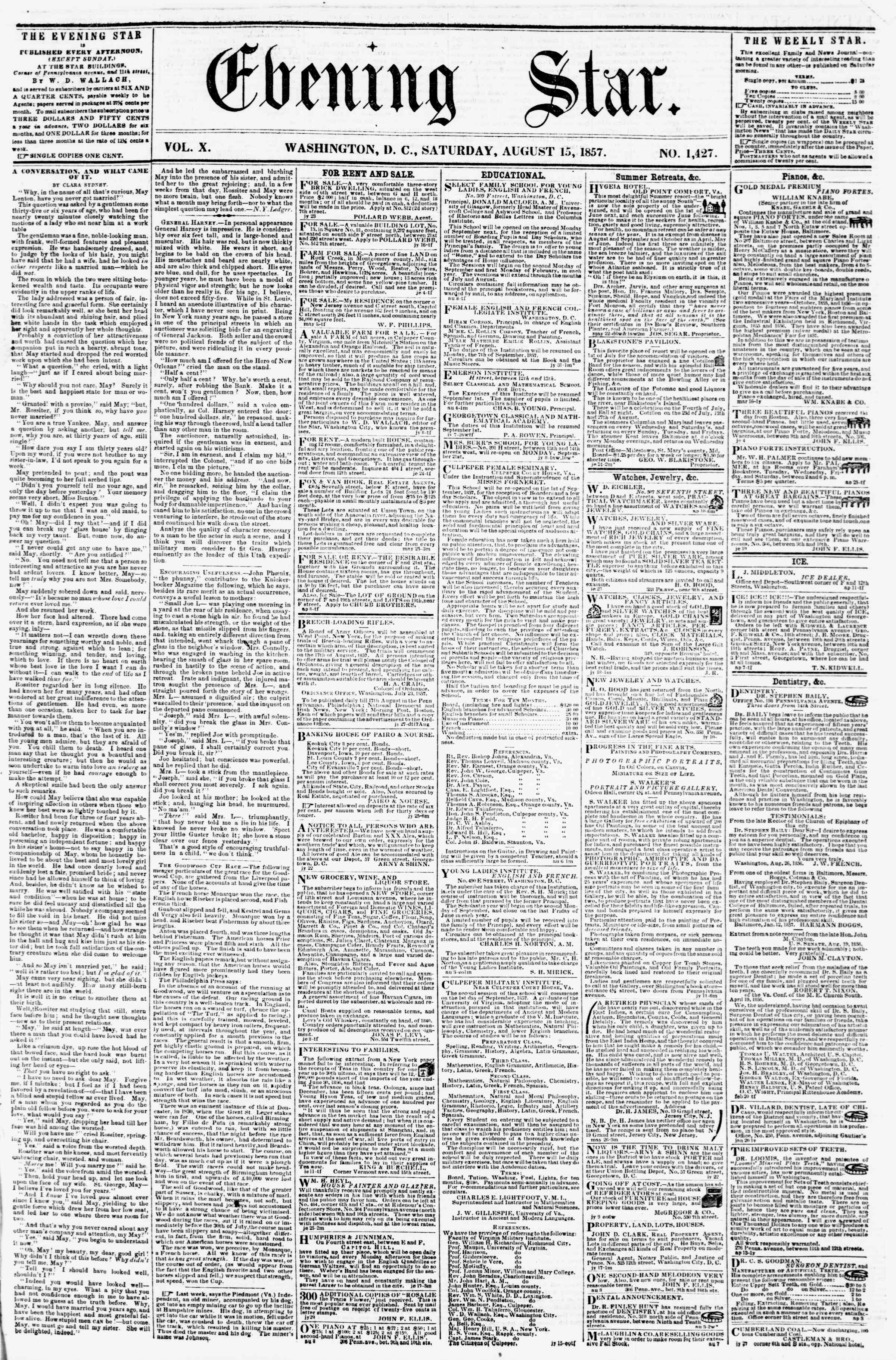 Newspaper of Evening Star dated August 15, 1857 Page 1