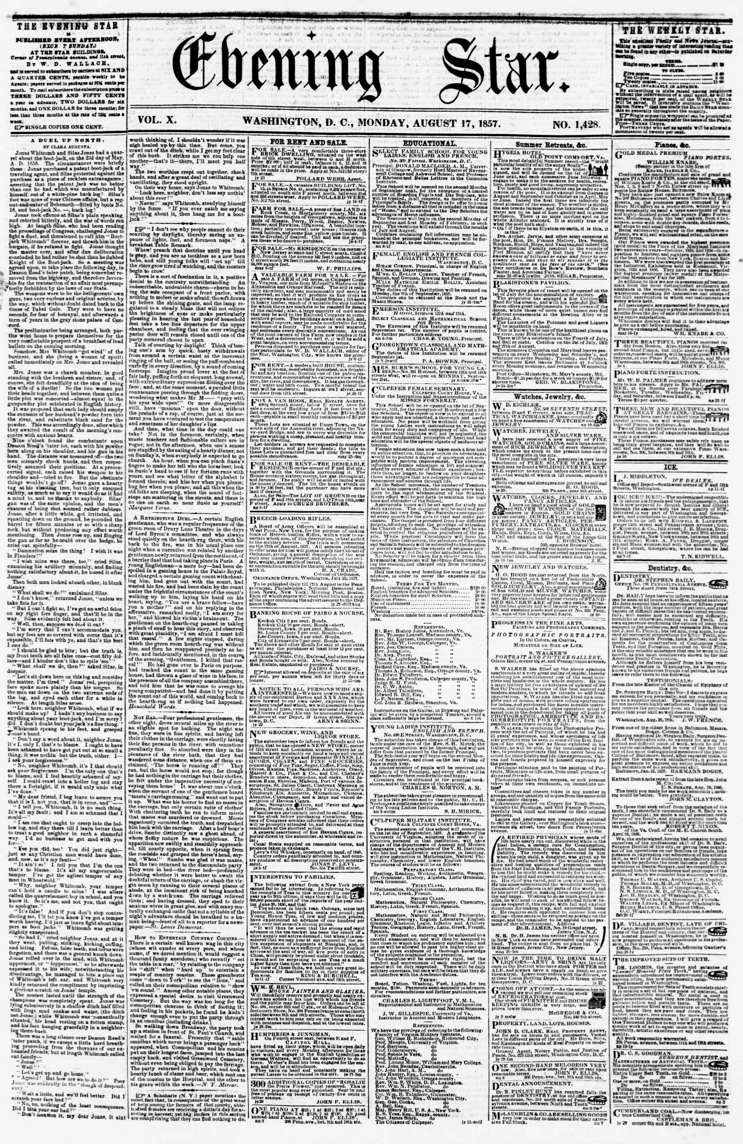 Newspaper of Evening Star dated August 17, 1857 Page 1