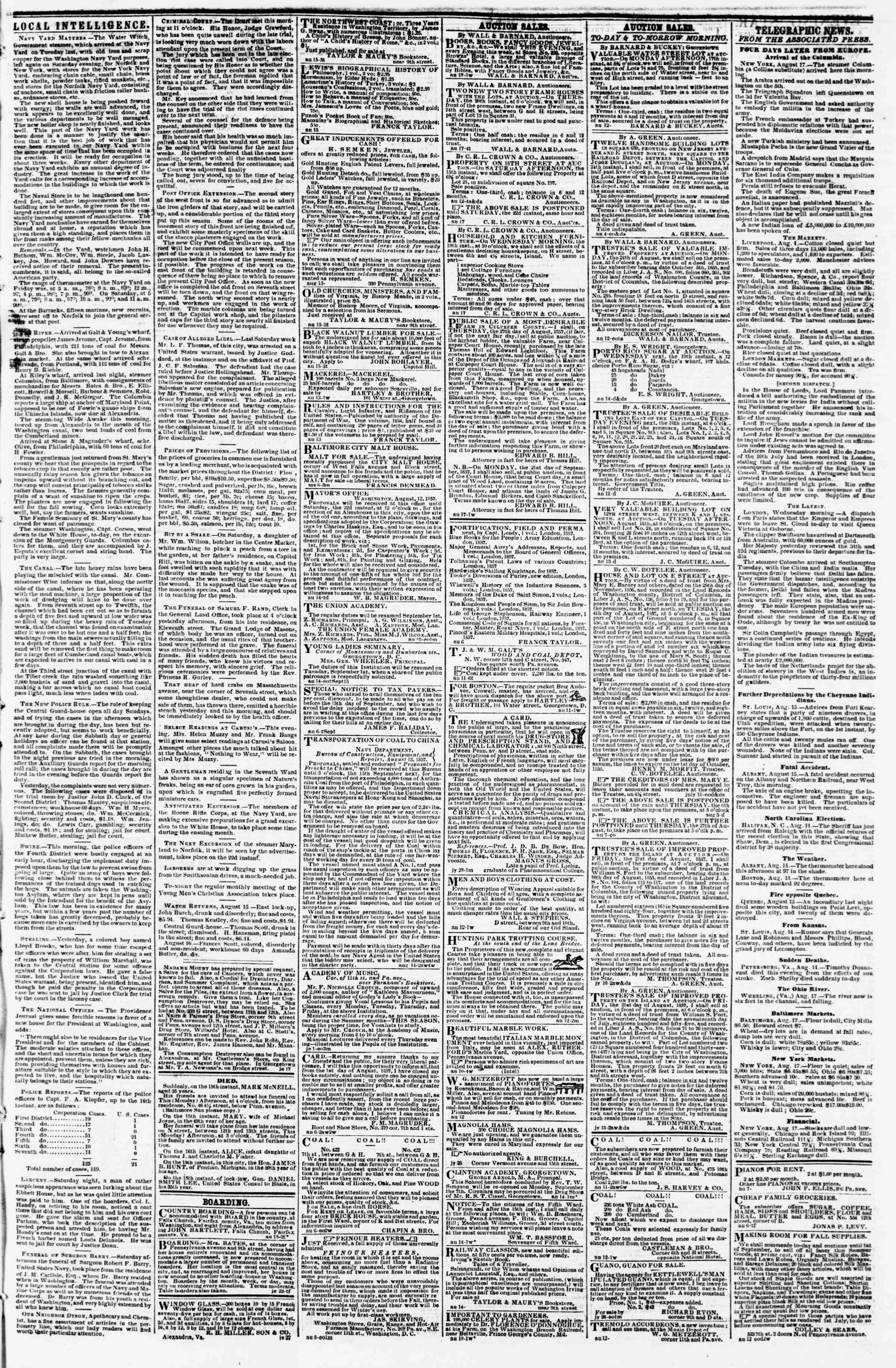 Newspaper of Evening Star dated August 17, 1857 Page 3