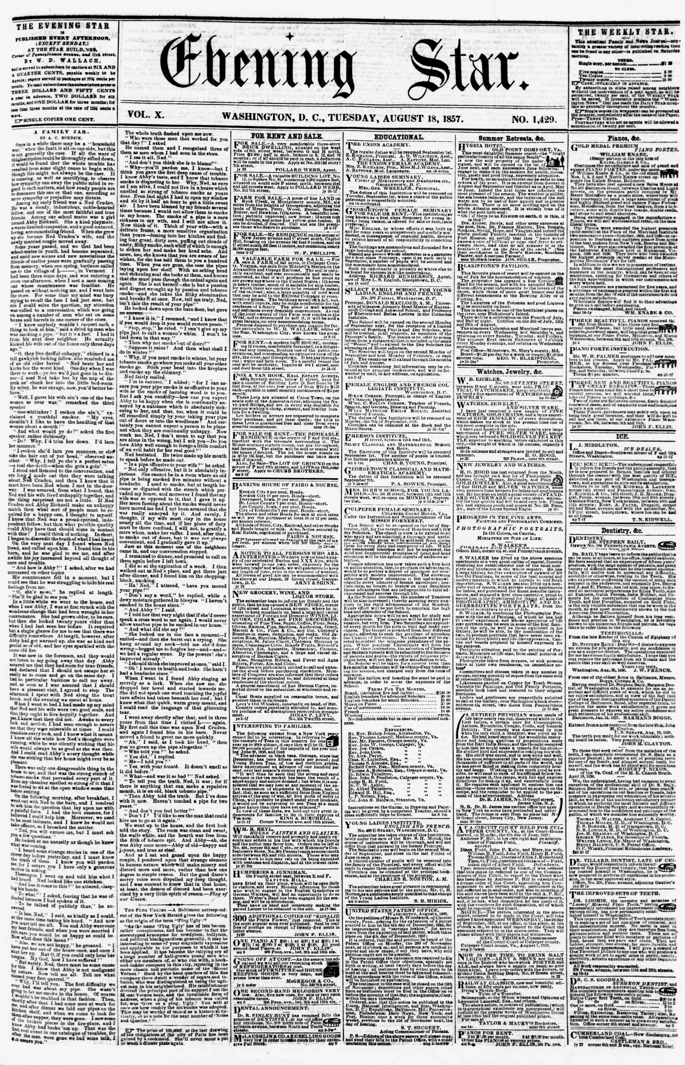 Newspaper of Evening Star dated August 18, 1857 Page 1